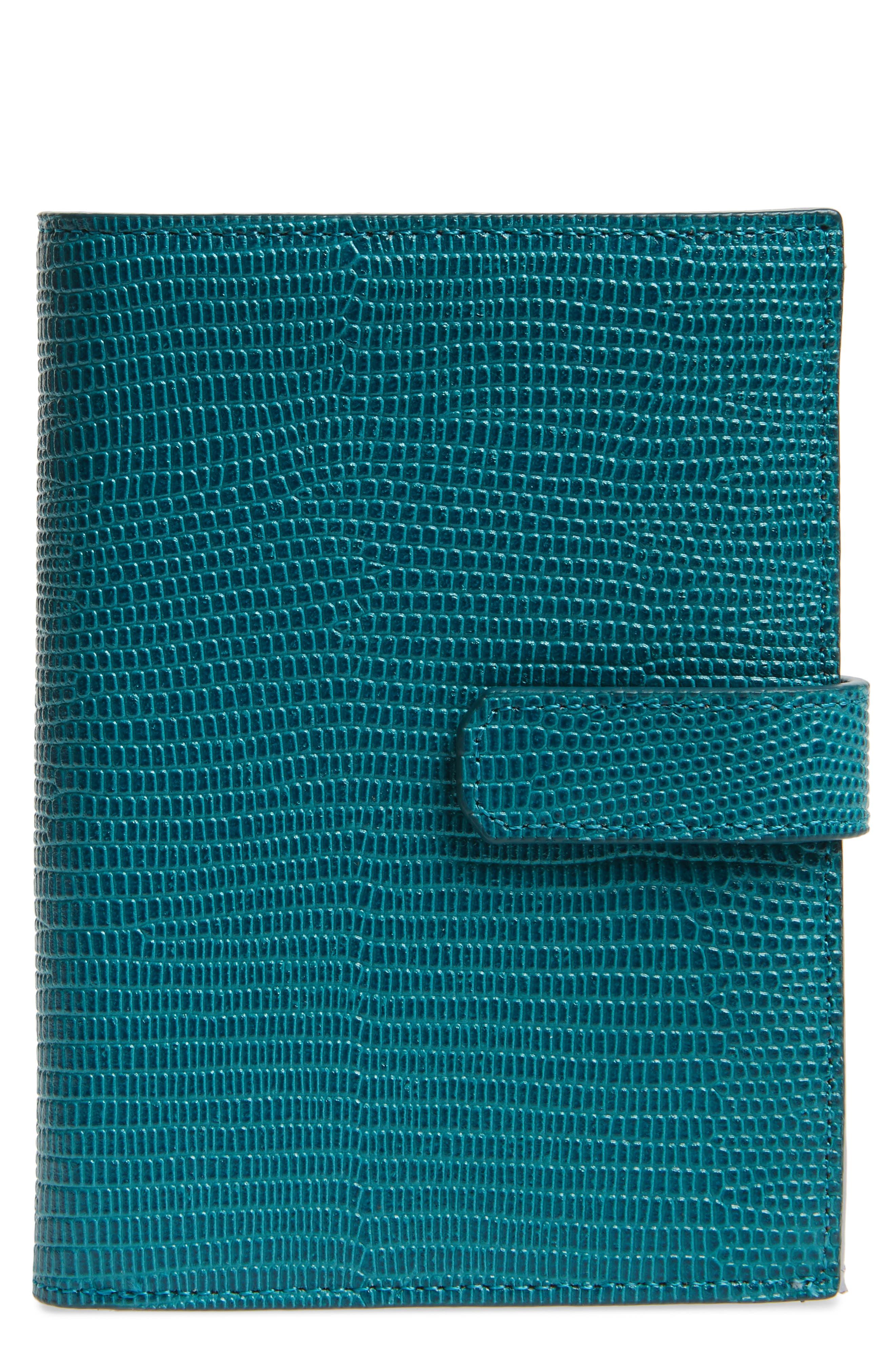Lauren Lizard Embossed Leather Bifold Wallet,                         Main,                         color, TEAL HARBOR