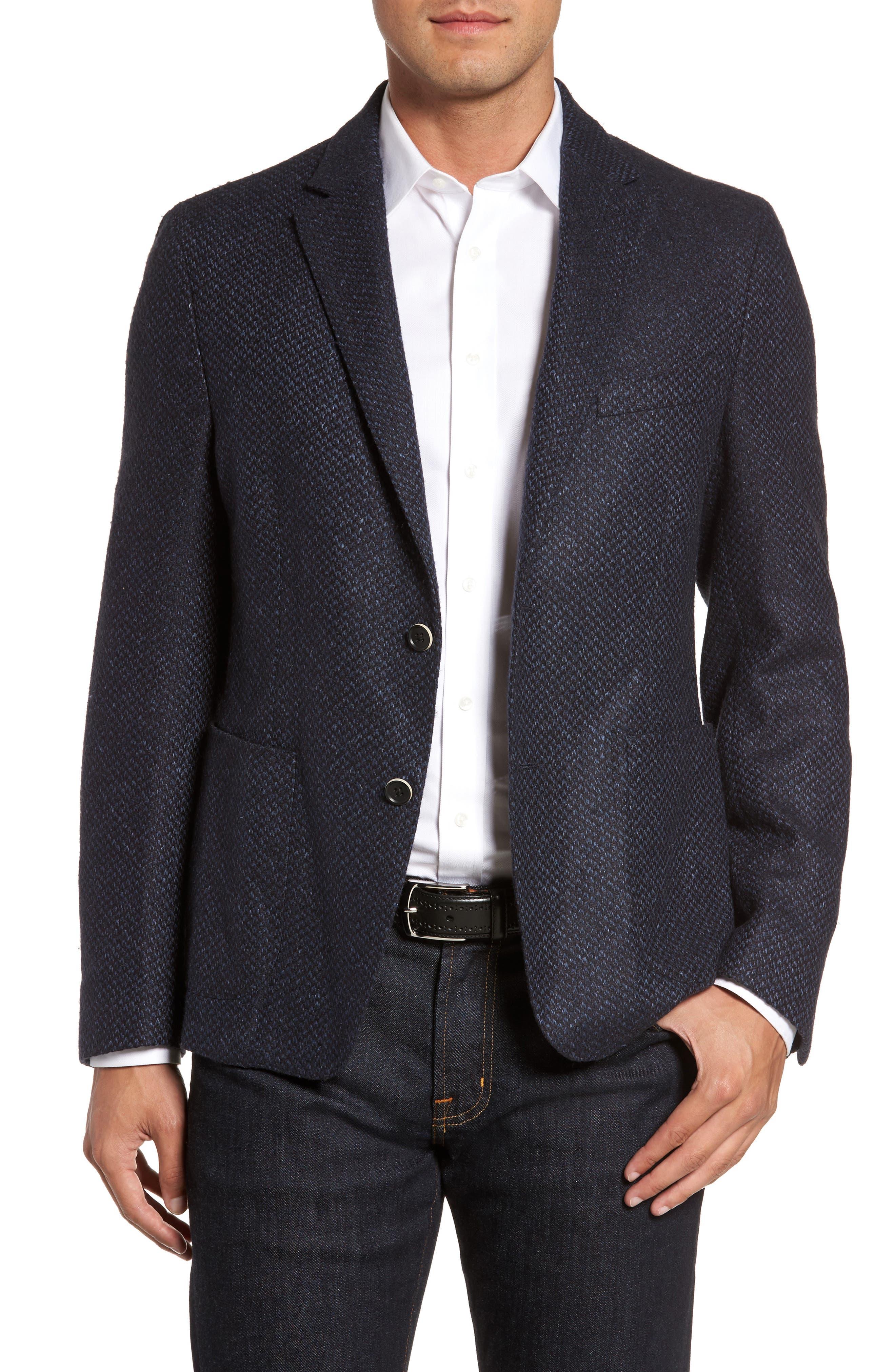 Woven Wool & Silk Blend Sport Coat,                             Main thumbnail 1, color,