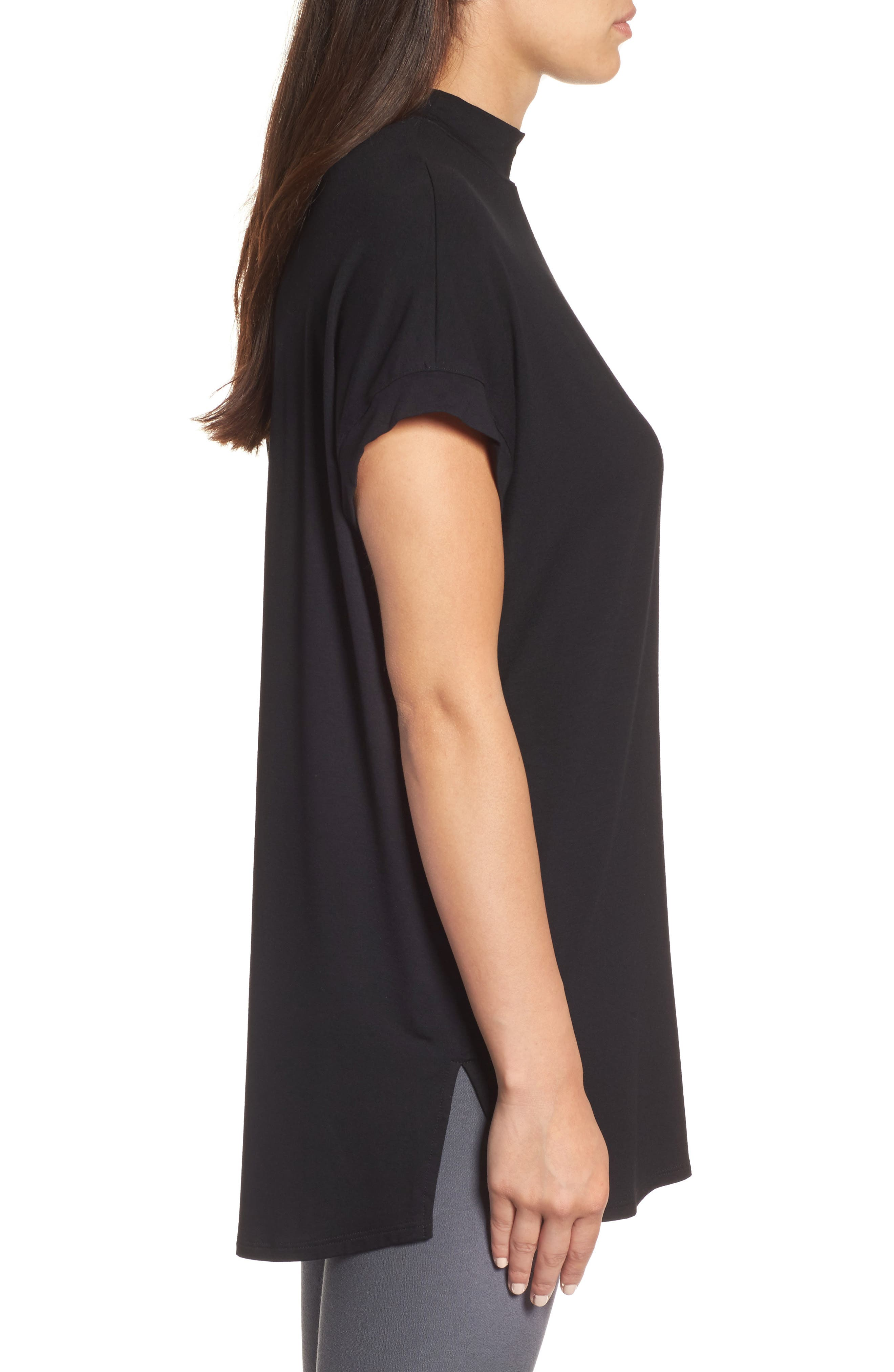 Mock Neck Wedge Top,                             Alternate thumbnail 3, color,                             001