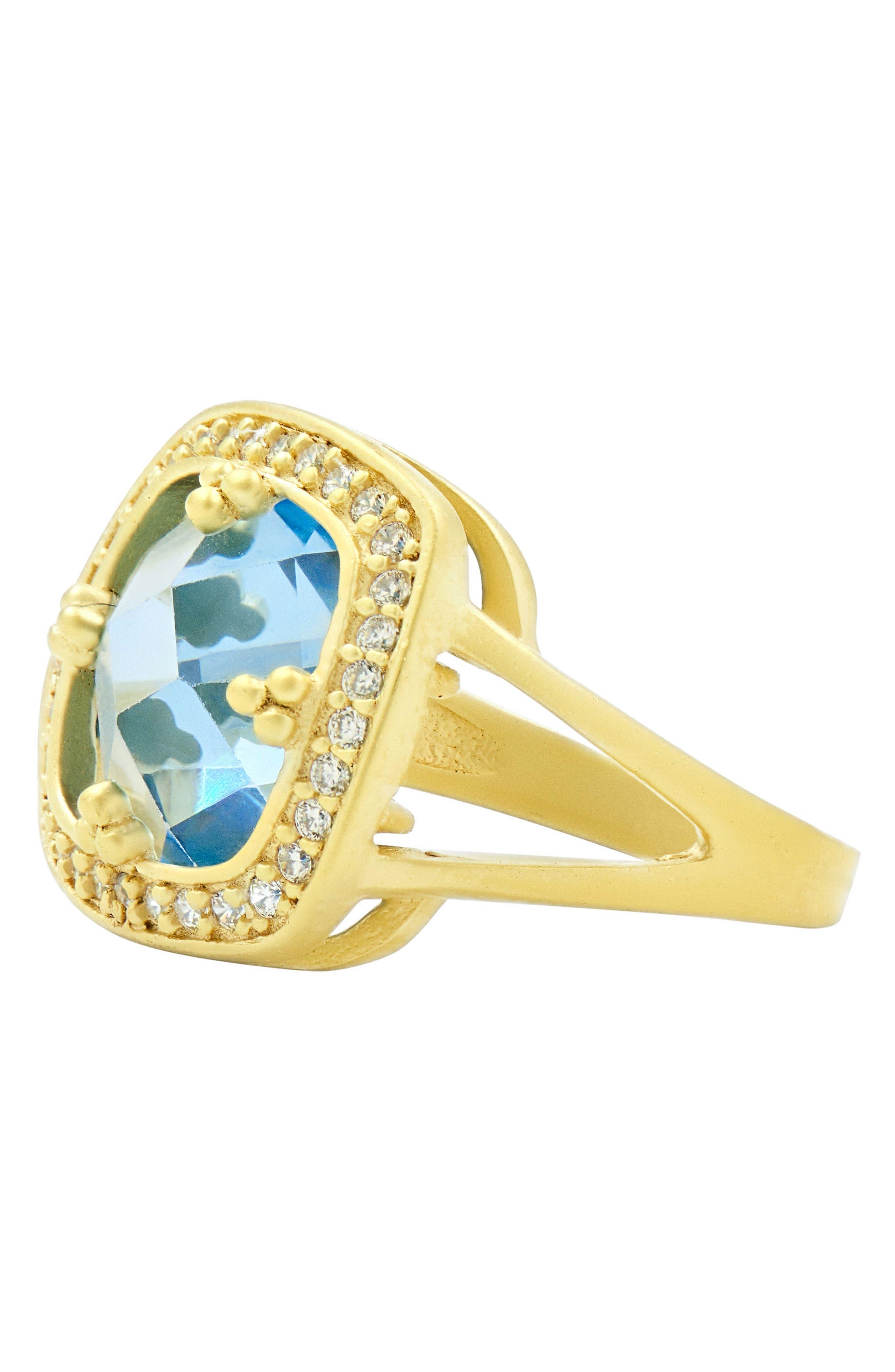 Ocean Azure Cubic Zirconia Ring,                             Alternate thumbnail 2, color,                             GOLD/ AQUA