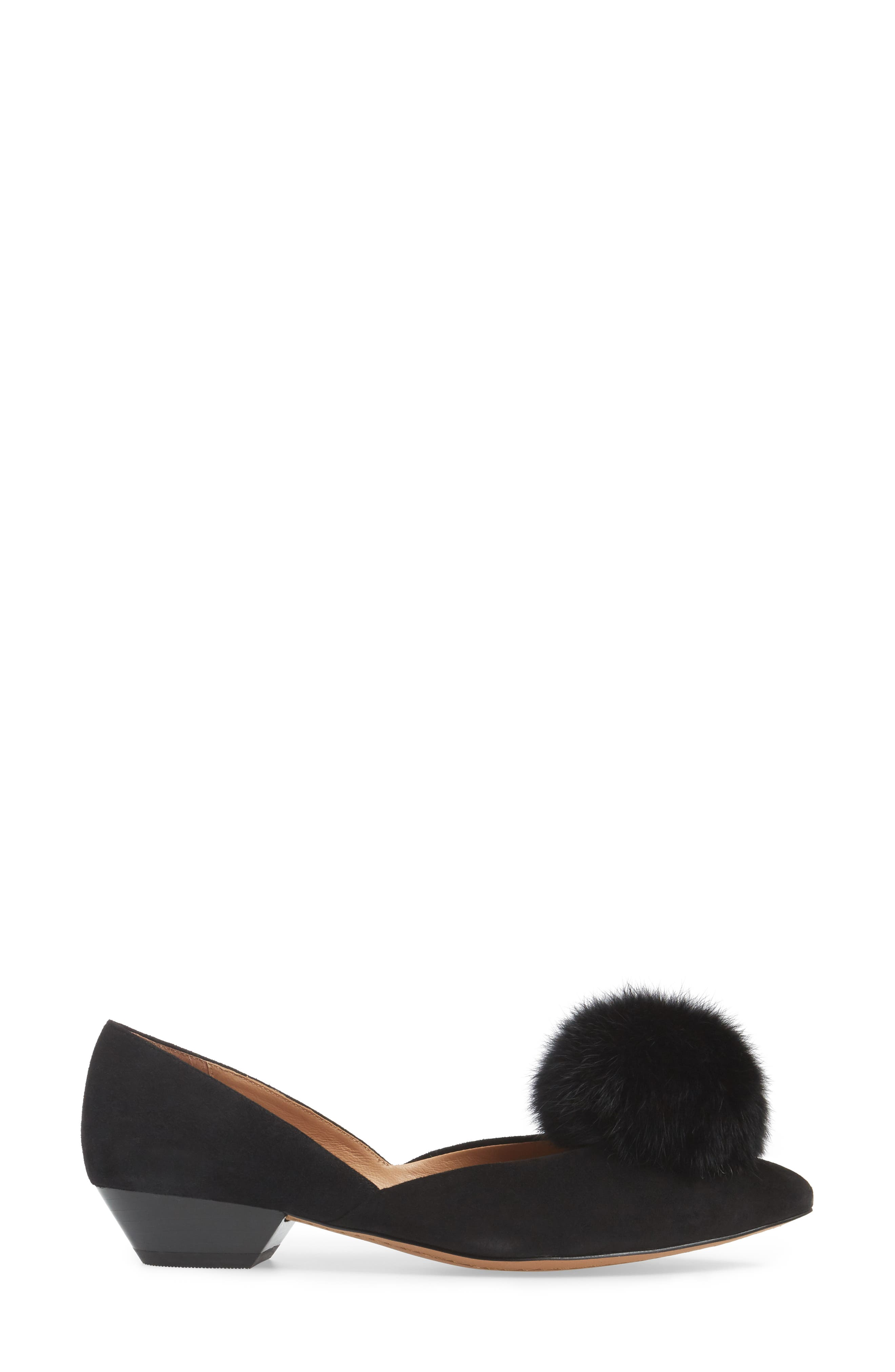 Camille Pump with Genuine Rabbit Fur Pom,                             Alternate thumbnail 3, color,                             002