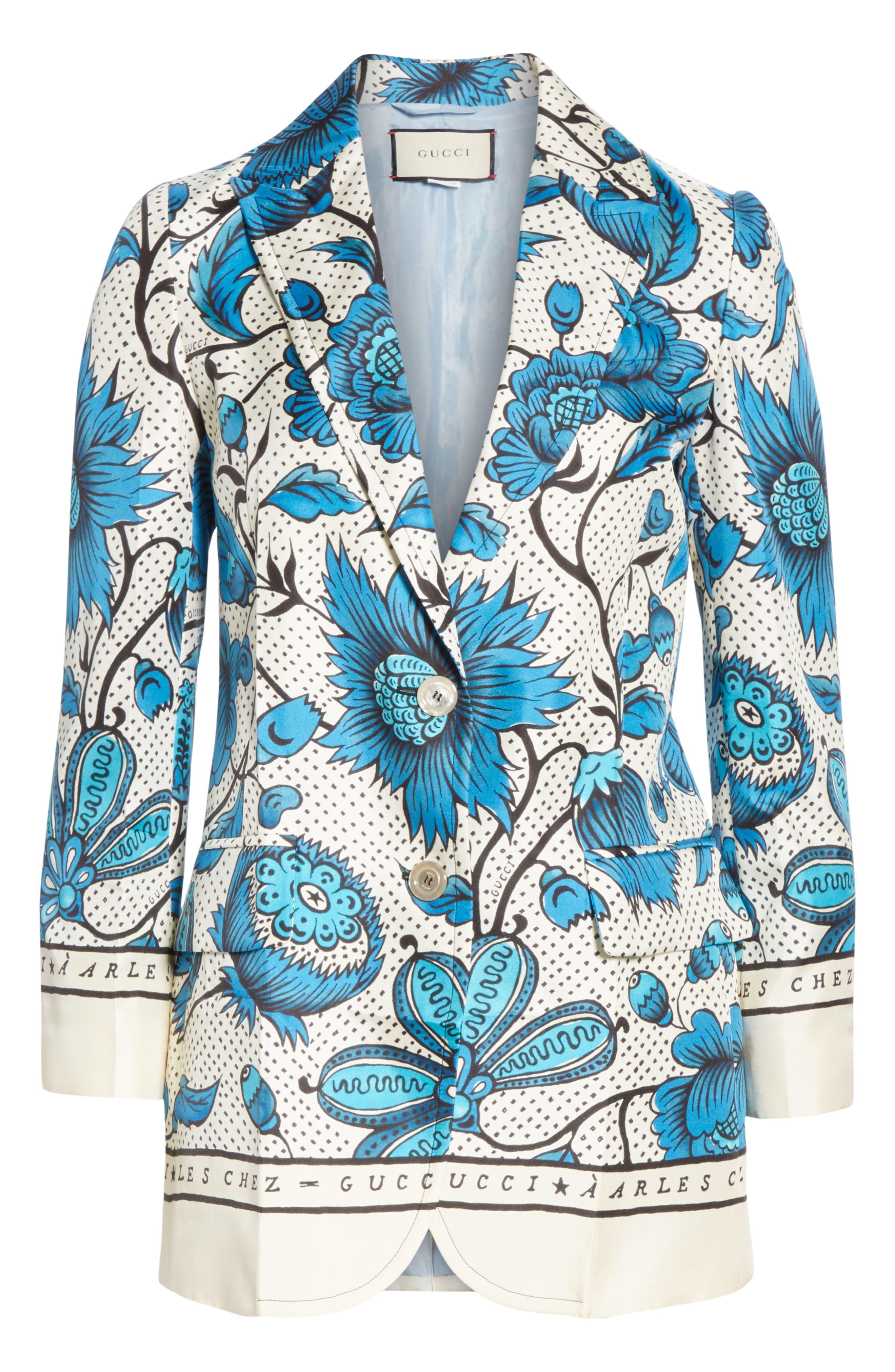 Watercolor Floral Print Silk Jacket,                             Alternate thumbnail 3, color,                             4821 BLUE/ IVORY PRT/ MC