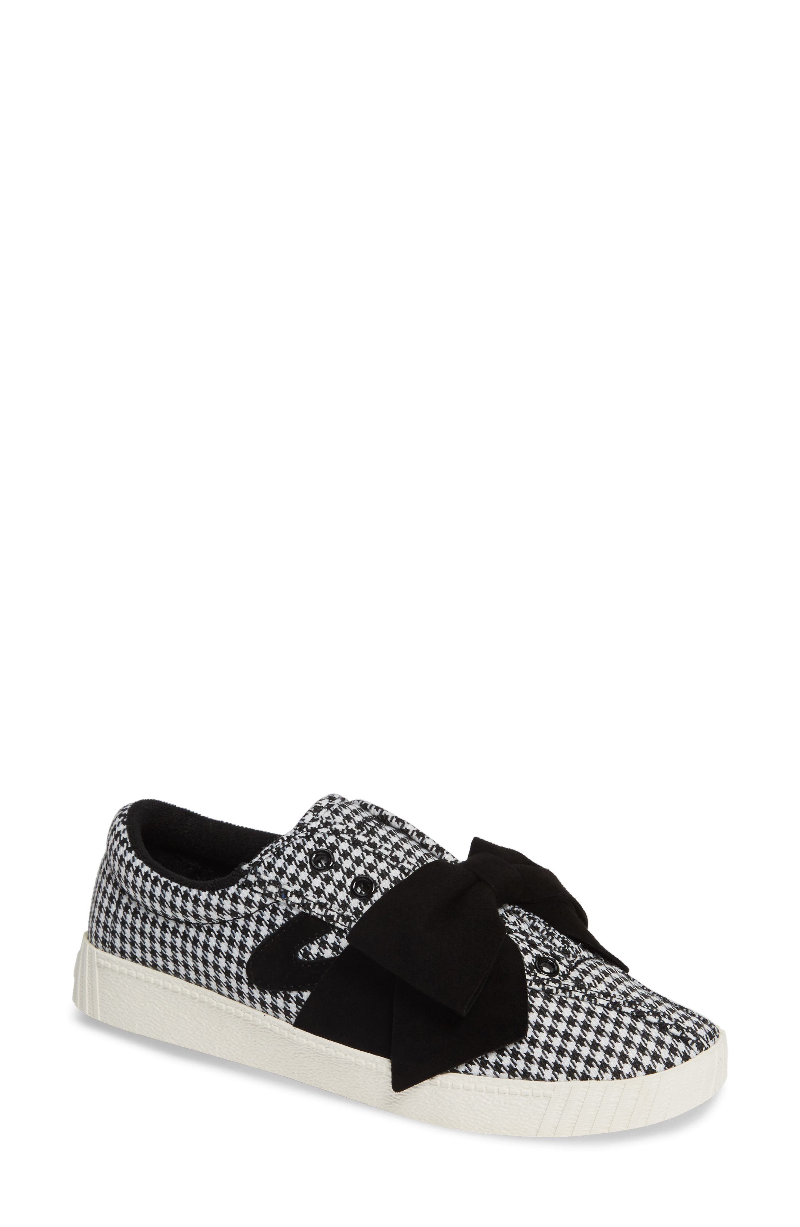 Nylite Lace-Up Houndstooth Sneakers W/ Bow in Black Multi
