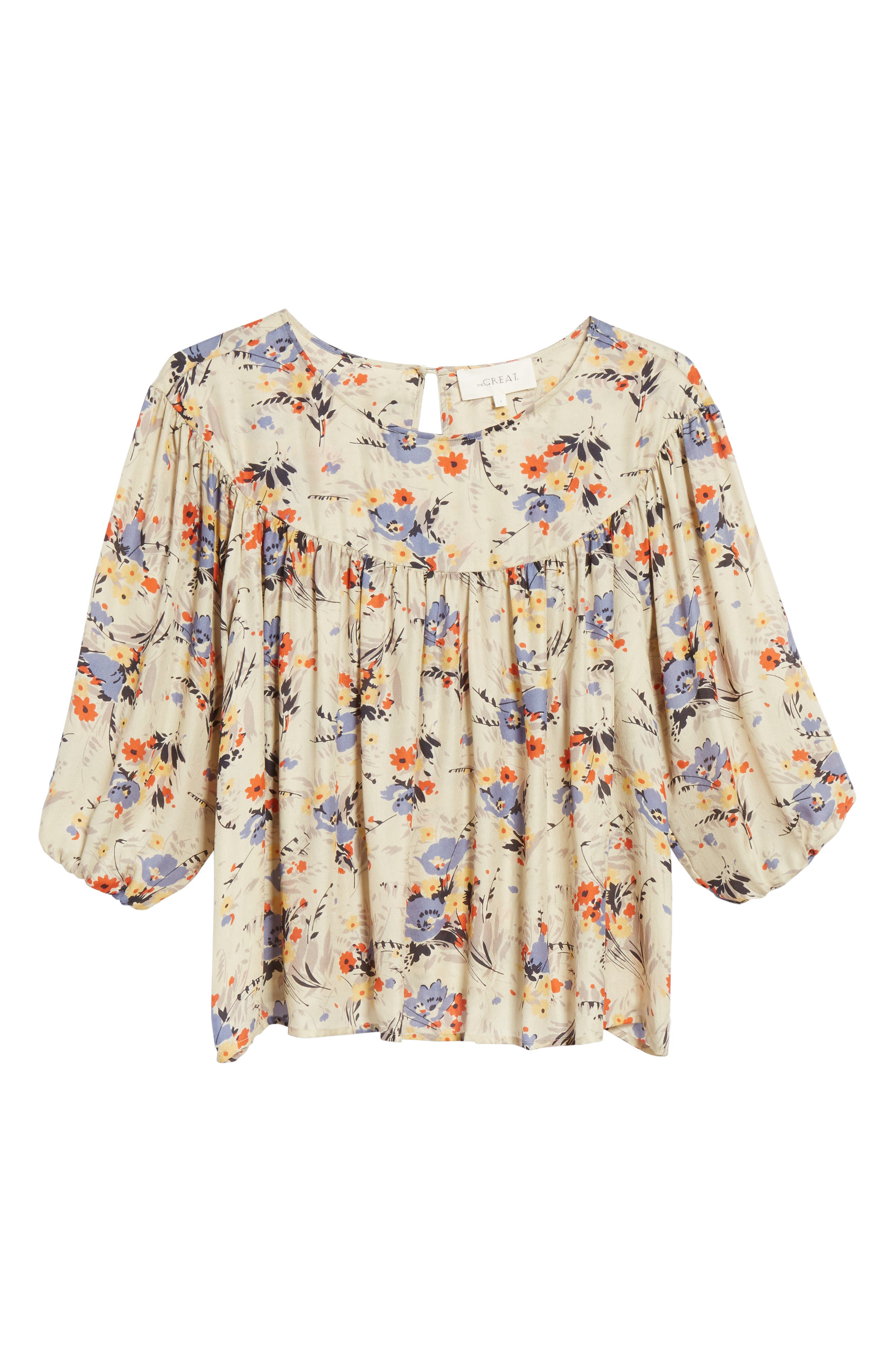 Duskfall Silk Blouse,                             Alternate thumbnail 6, color,                             WOODLAND FLORAL