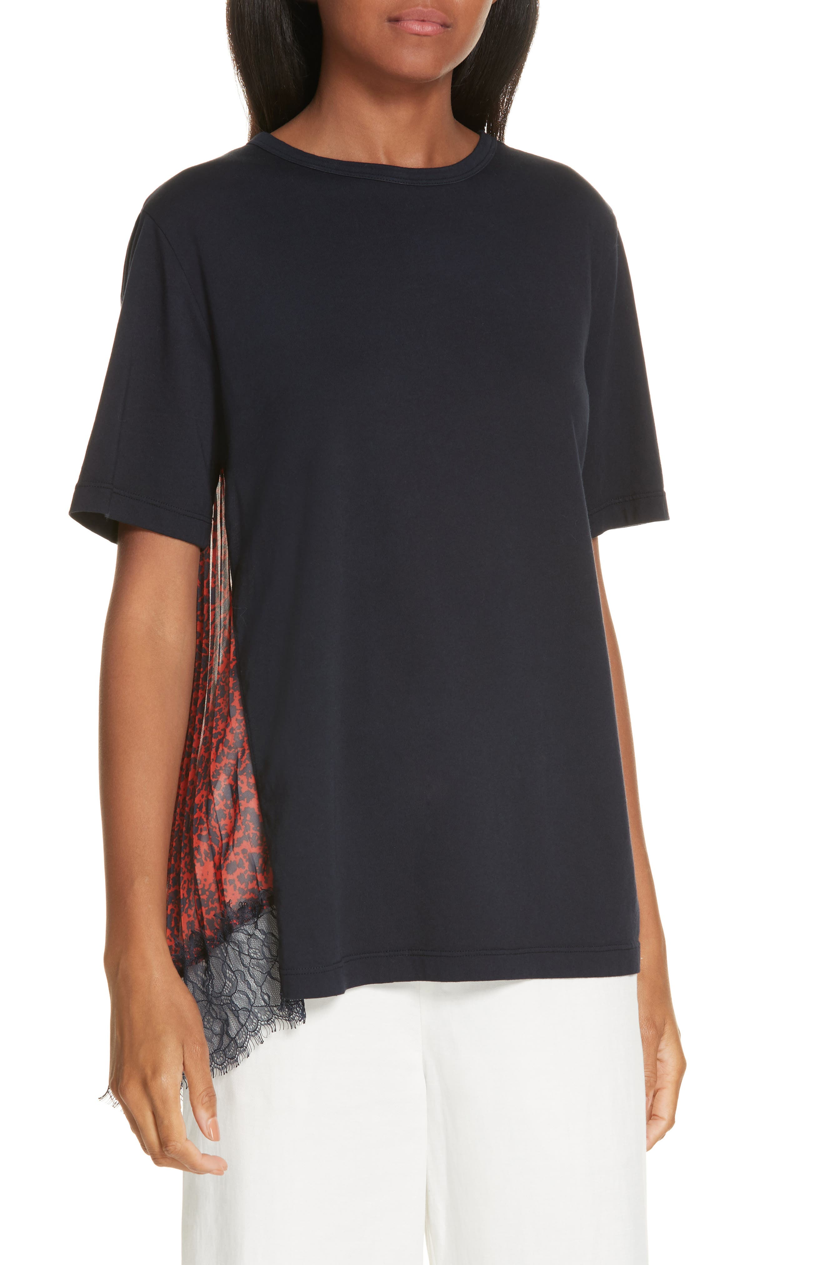 Mix Media Pleat Lace Detail Tee,                             Main thumbnail 1, color,                             NAVY
