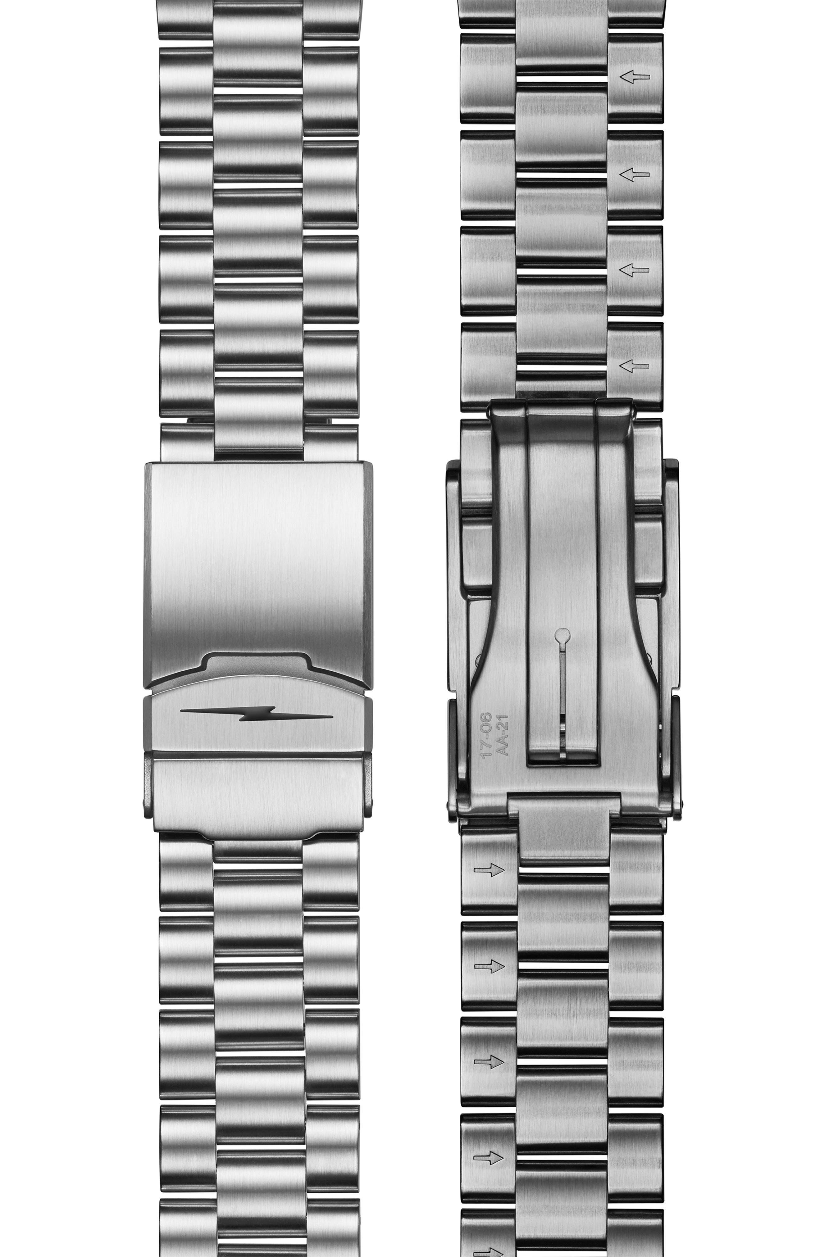 Monster Automatic Bracelet Watch, 43mm,                             Alternate thumbnail 4, color,                             SILVER/ BLACK