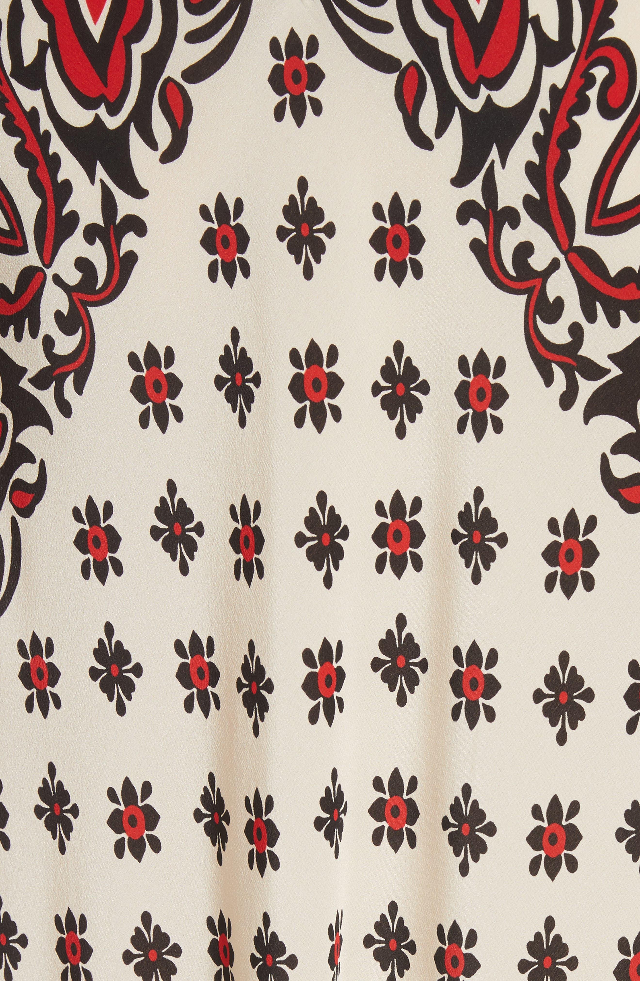 Print Silk Midi Dress,                             Alternate thumbnail 5, color,                             609