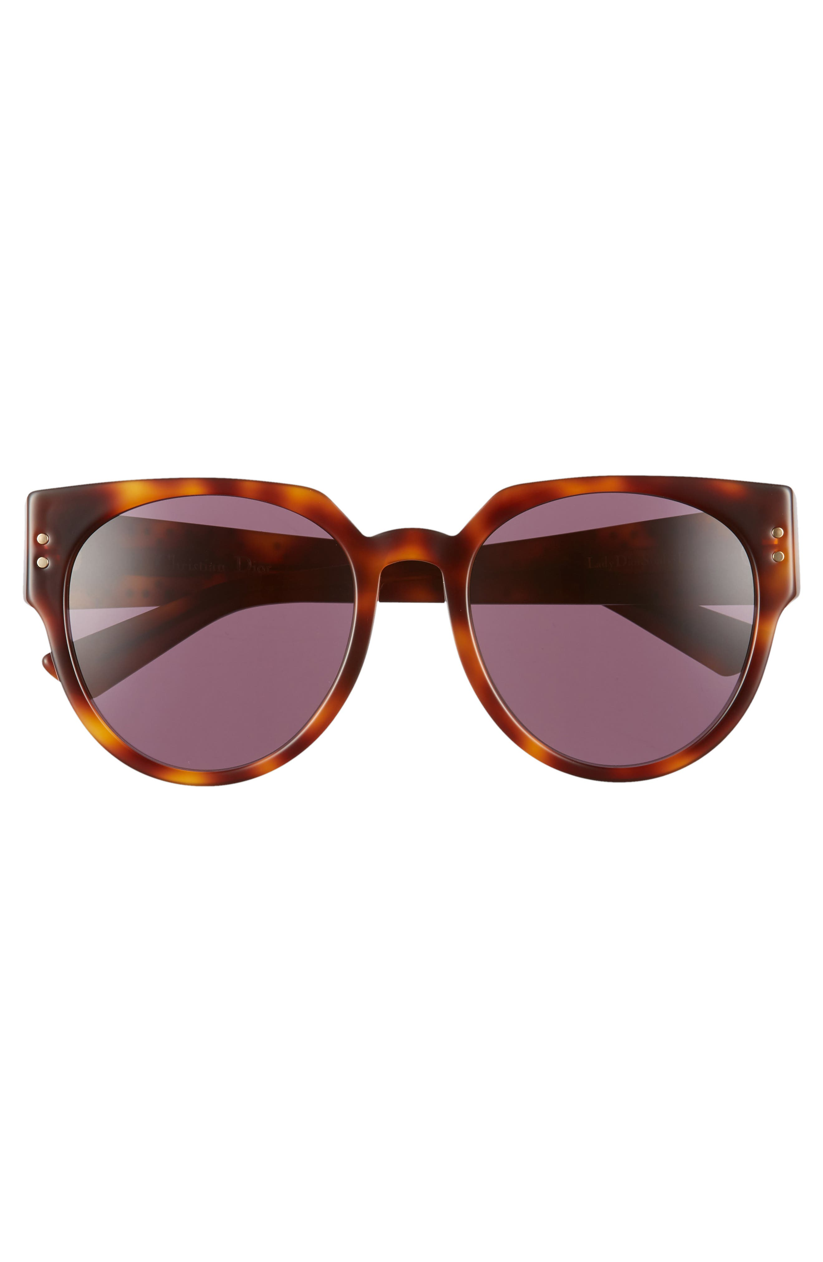 Lady Dior 54mm Special Fit Polarized Cat Eye Sunglasses,                             Alternate thumbnail 3, color,                             DARK HAVANA