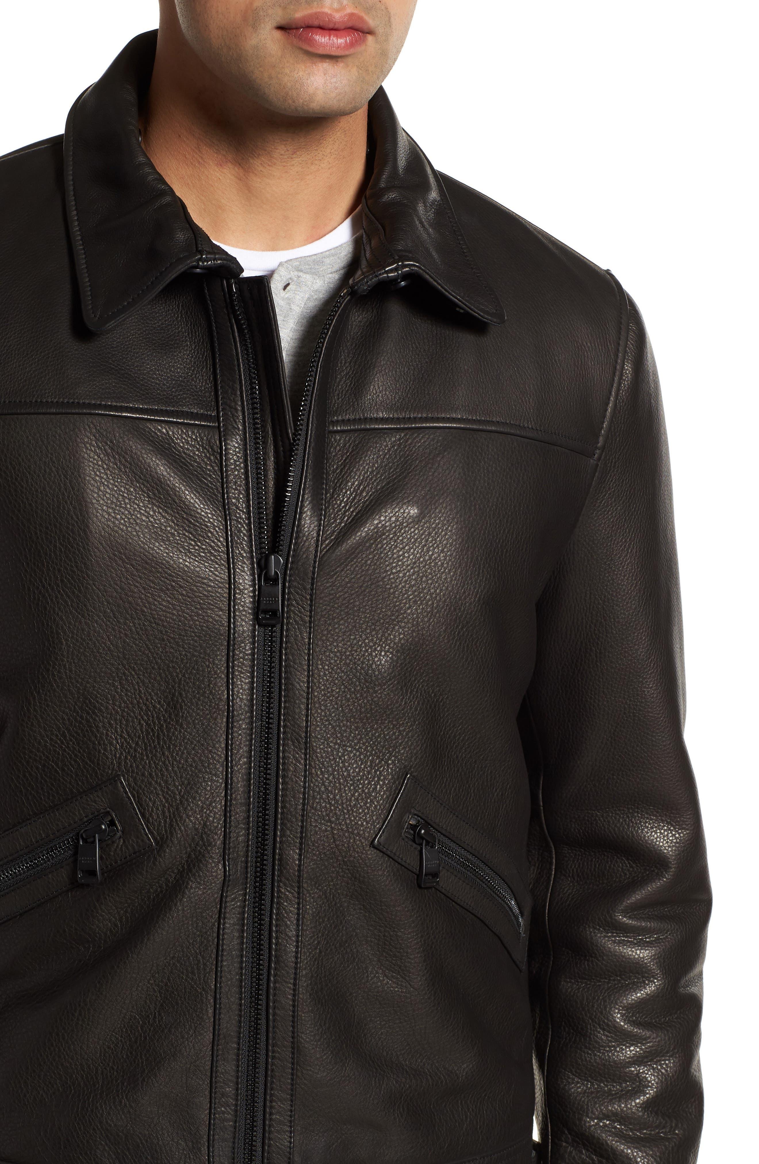Kilmer Genuine Shearling Bomber Jacket,                             Alternate thumbnail 4, color,                             BLACK