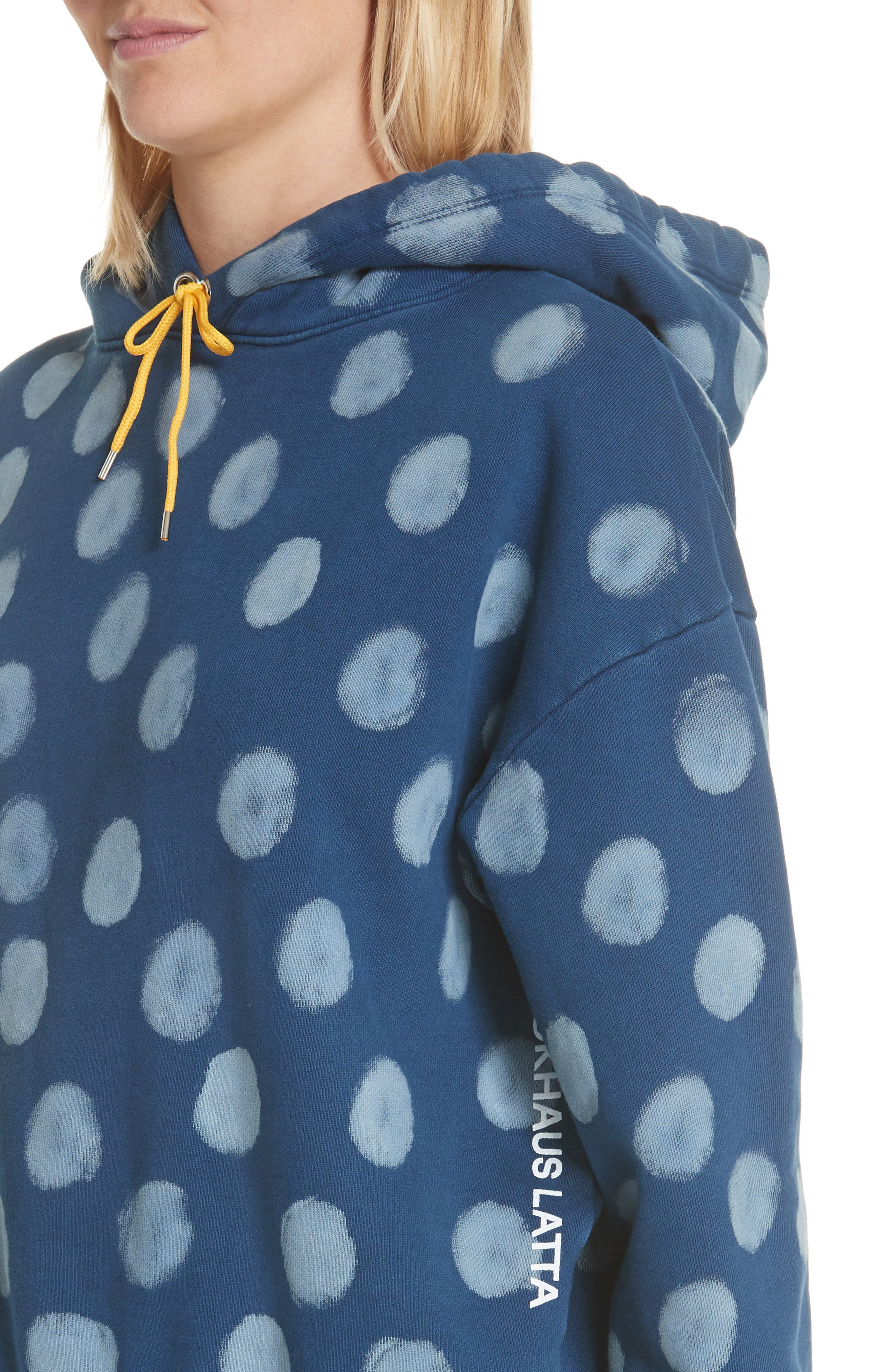 Crop Polka Dot Pullover Hoodie,                             Alternate thumbnail 4, color,                             400
