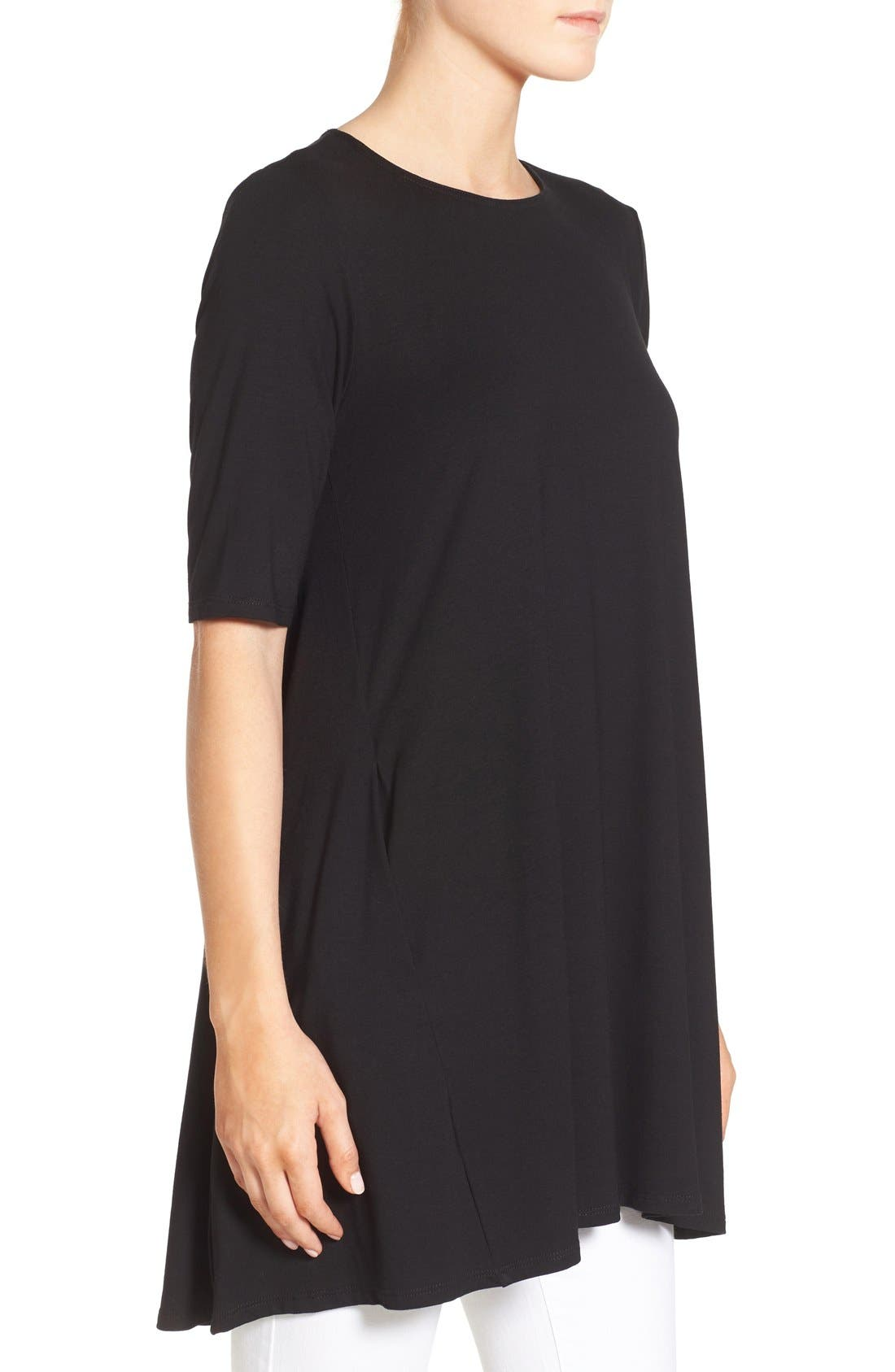 Lightweight Jersey Round Neck Tunic,                             Alternate thumbnail 2, color,                             001