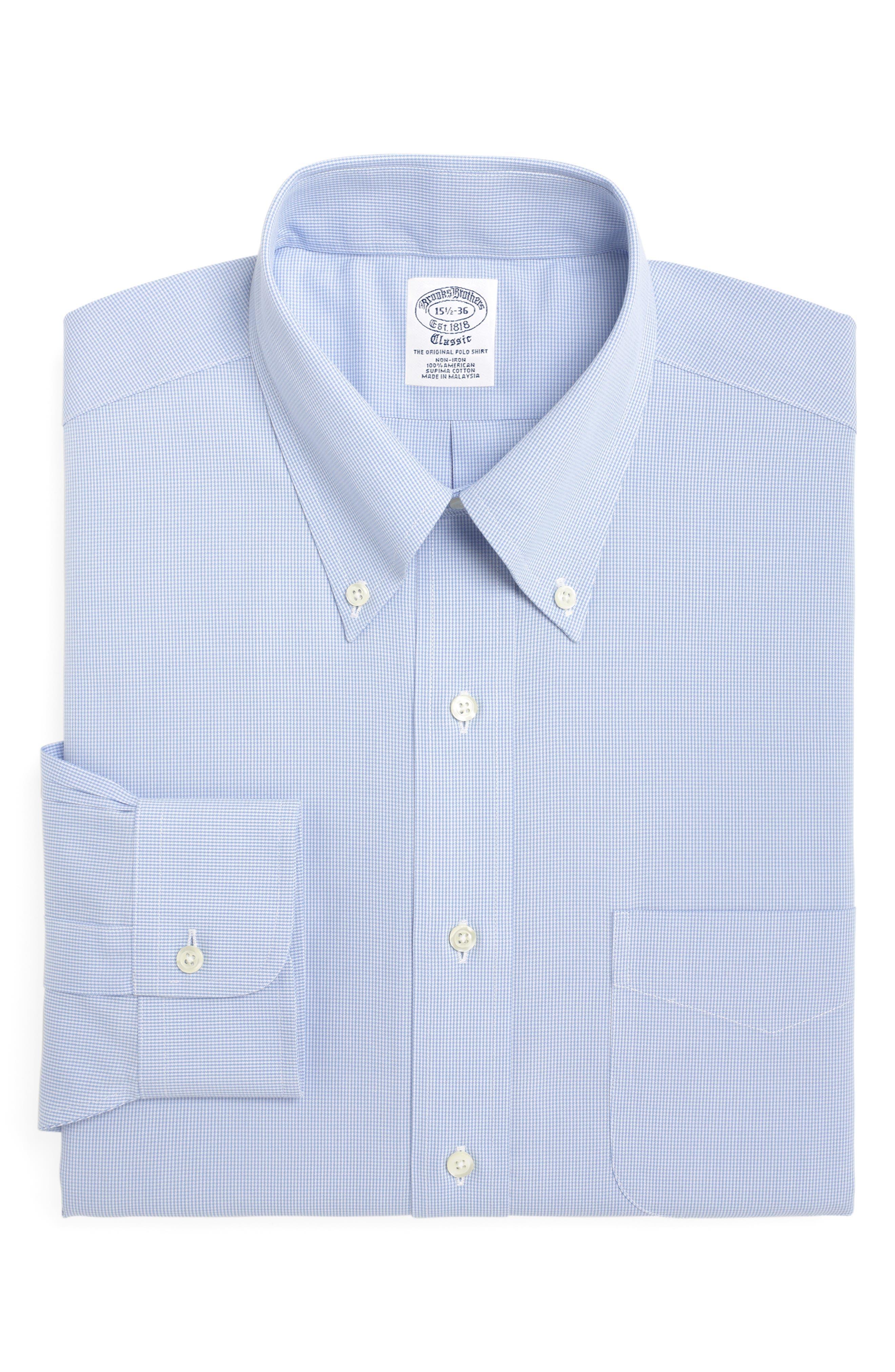Regular Fit Houndstooth Dress Shirt,                         Main,                         color, LIGHT/ PASTEL BLUE