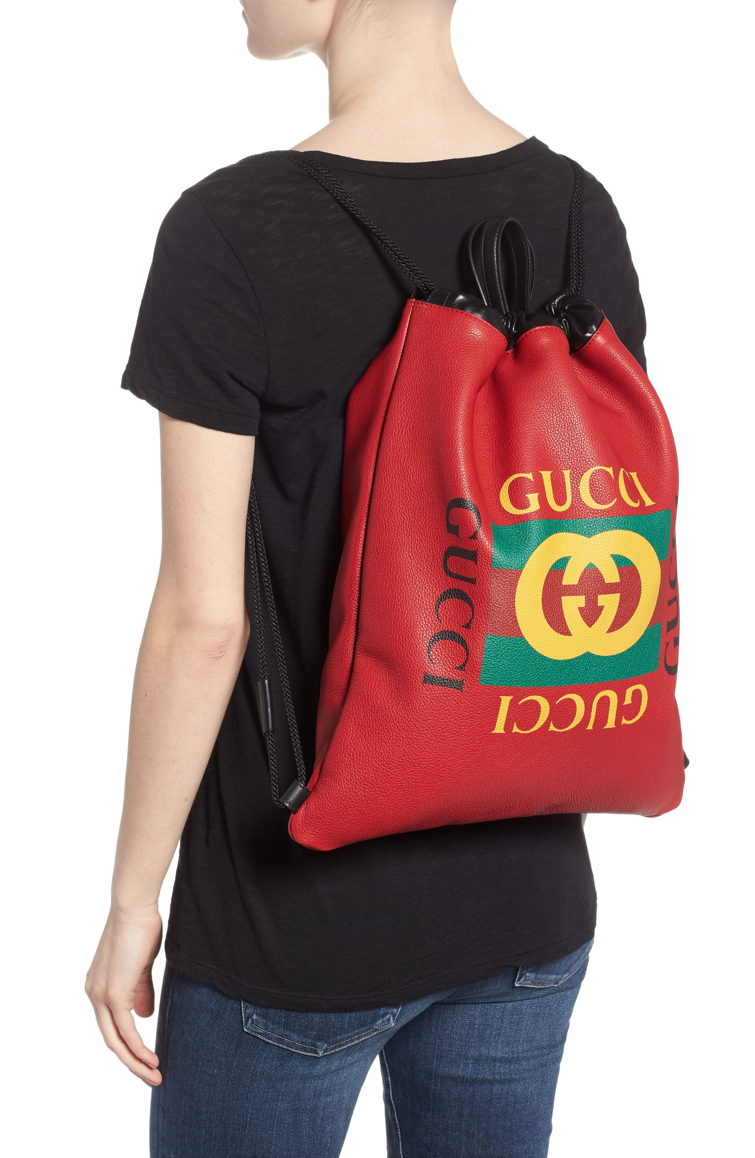 GUCCI,                             Logo Drawstring Leather Backpack,                             Alternate thumbnail 2, color,                             HIBISCUS RED/ NERO/ VERT