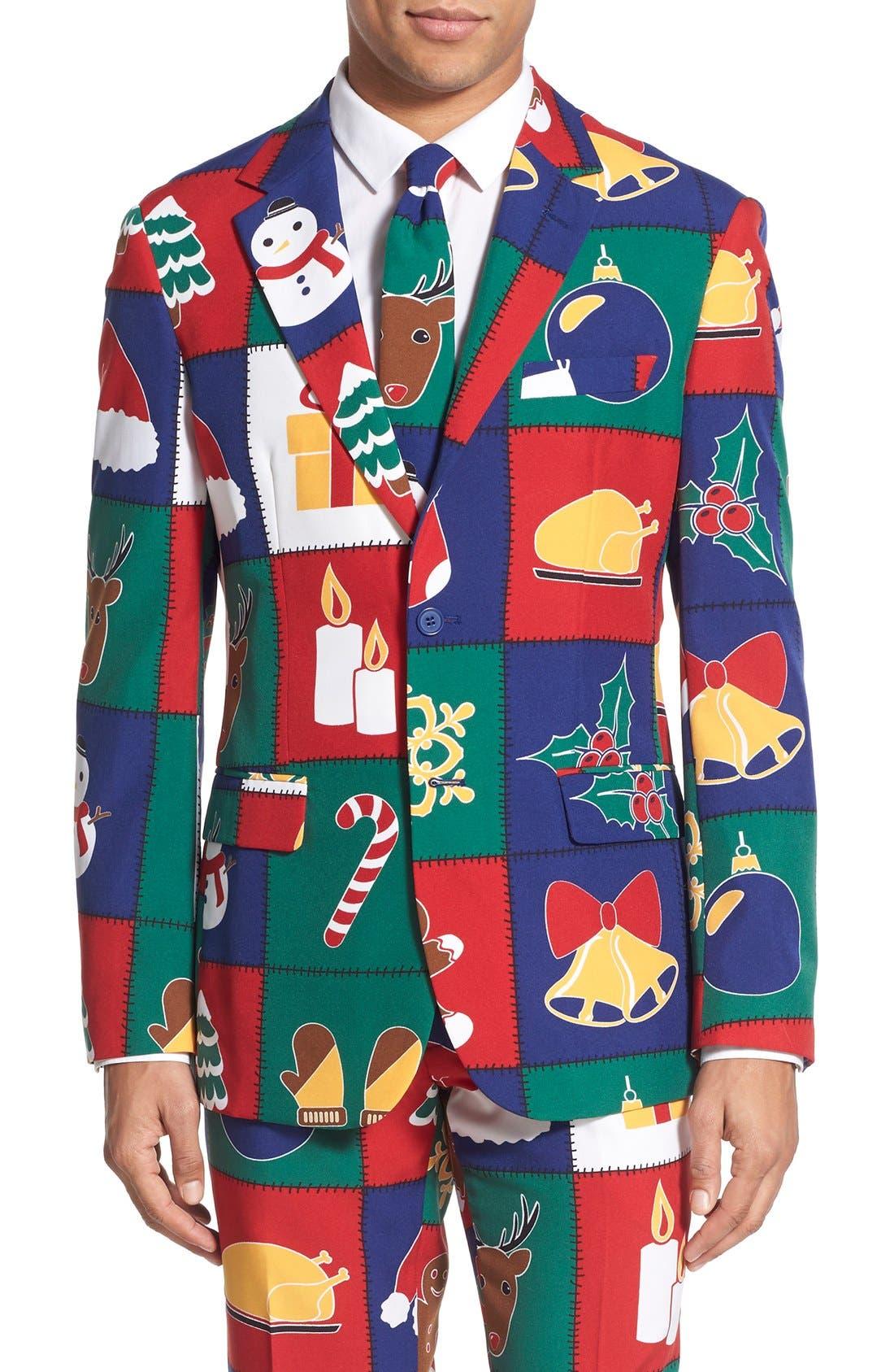 'Quilty Pleasure' Holiday Suit & Tie,                             Alternate thumbnail 2, color,                             300