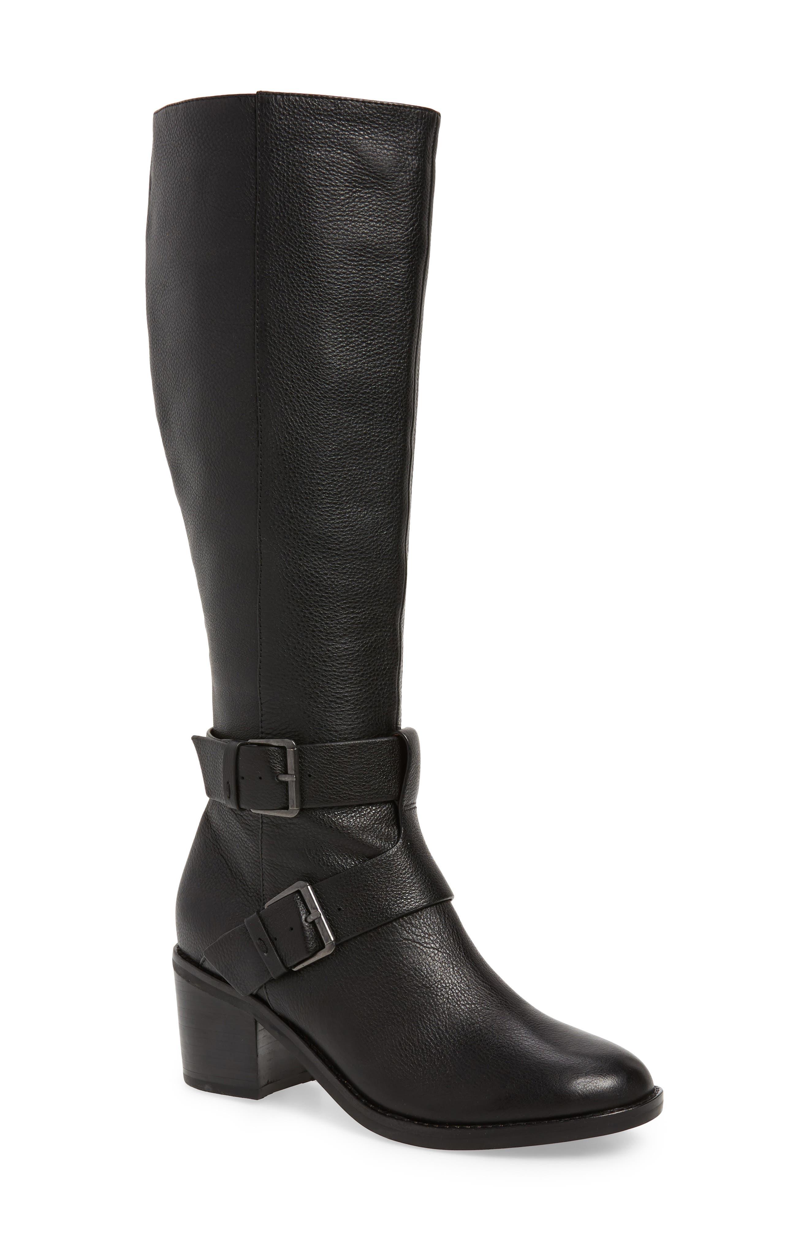 Gentle Souls Women'S Verona Block-Heel Riding Boots in Black Leather