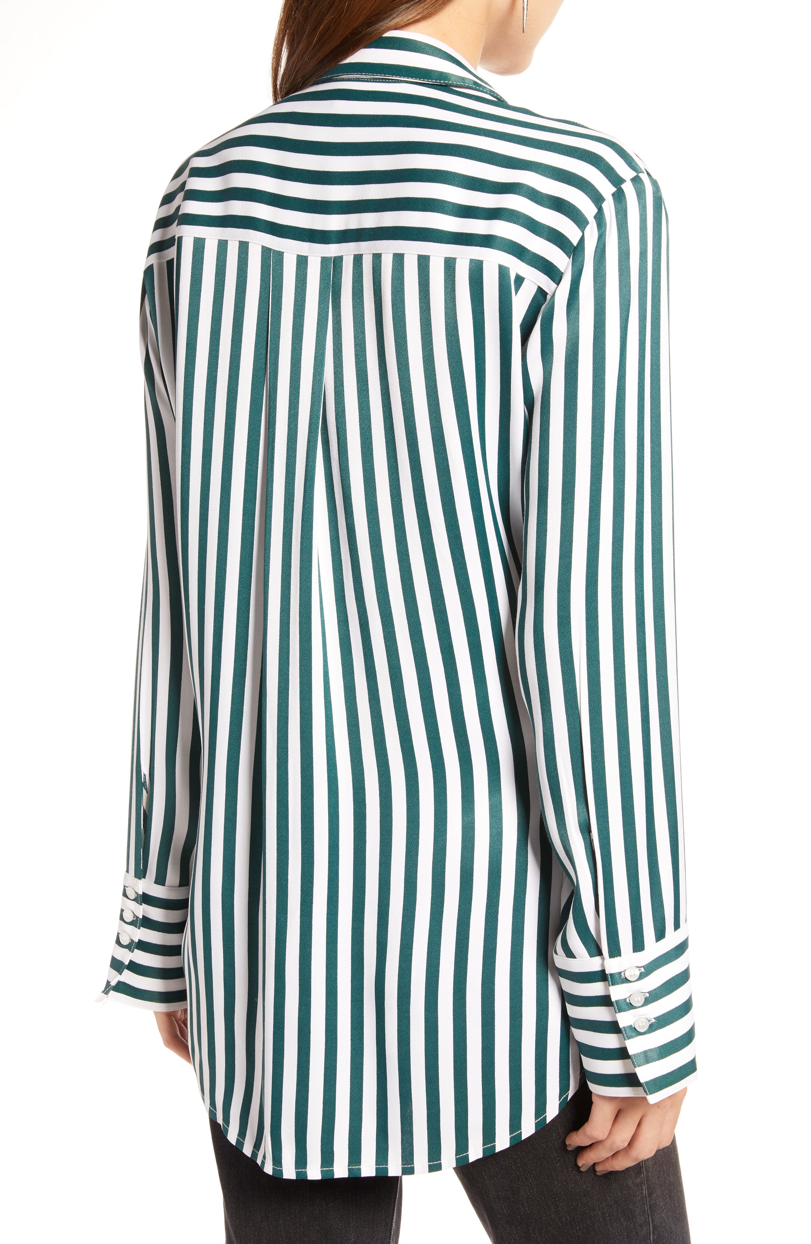 Striped Boyfriend Shirt,                             Alternate thumbnail 2, color,                             GREEN BUG WIDE STRIPE