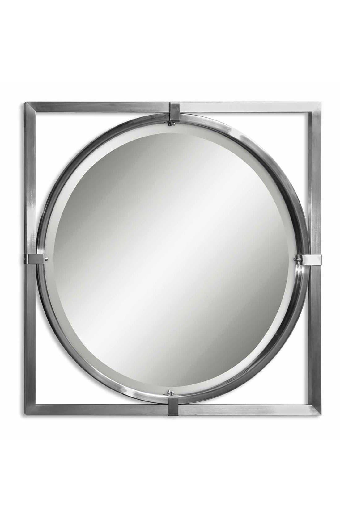 'Kagami' Brushed Nickel Mirror,                             Main thumbnail 1, color,                             040