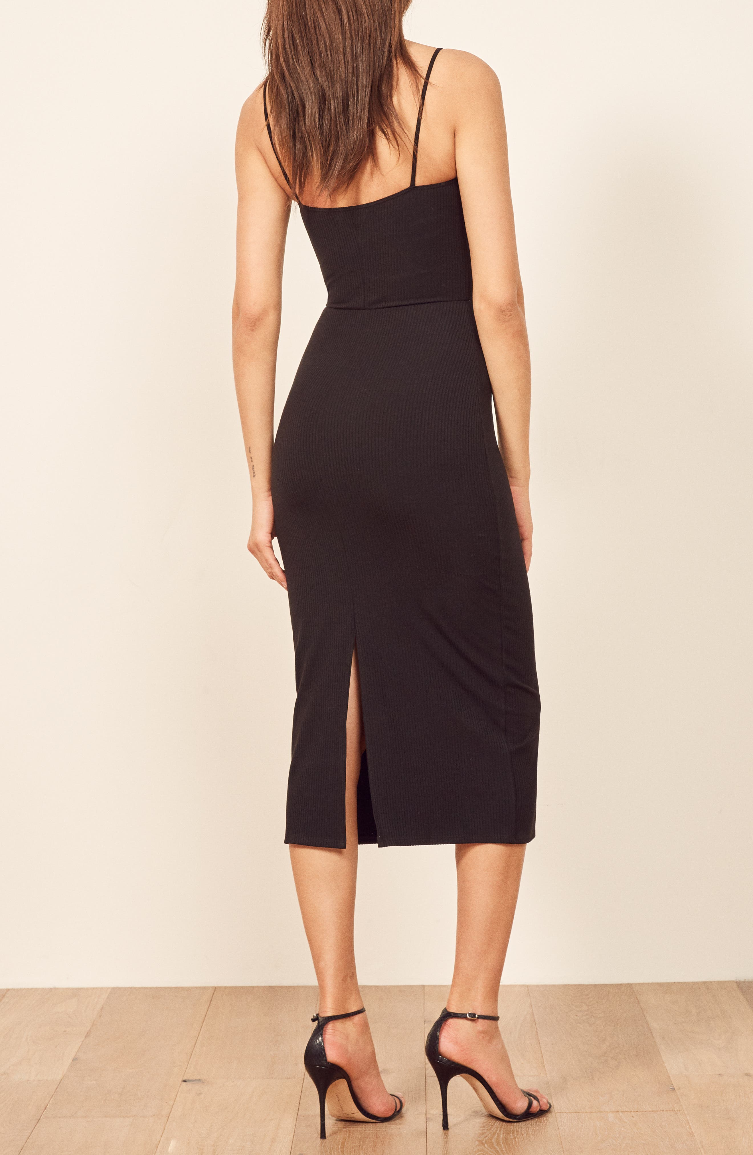 REFORMATION,                             Haley Midi Dress,                             Alternate thumbnail 3, color,                             BLACK