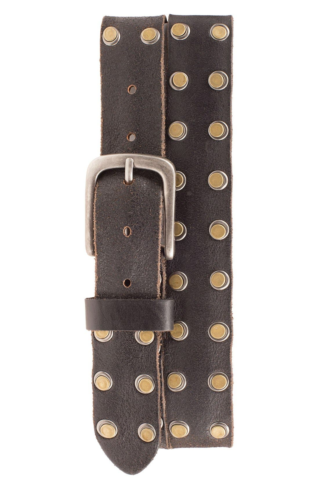 'Outlaw' Leather Belt,                             Main thumbnail 1, color,                             001