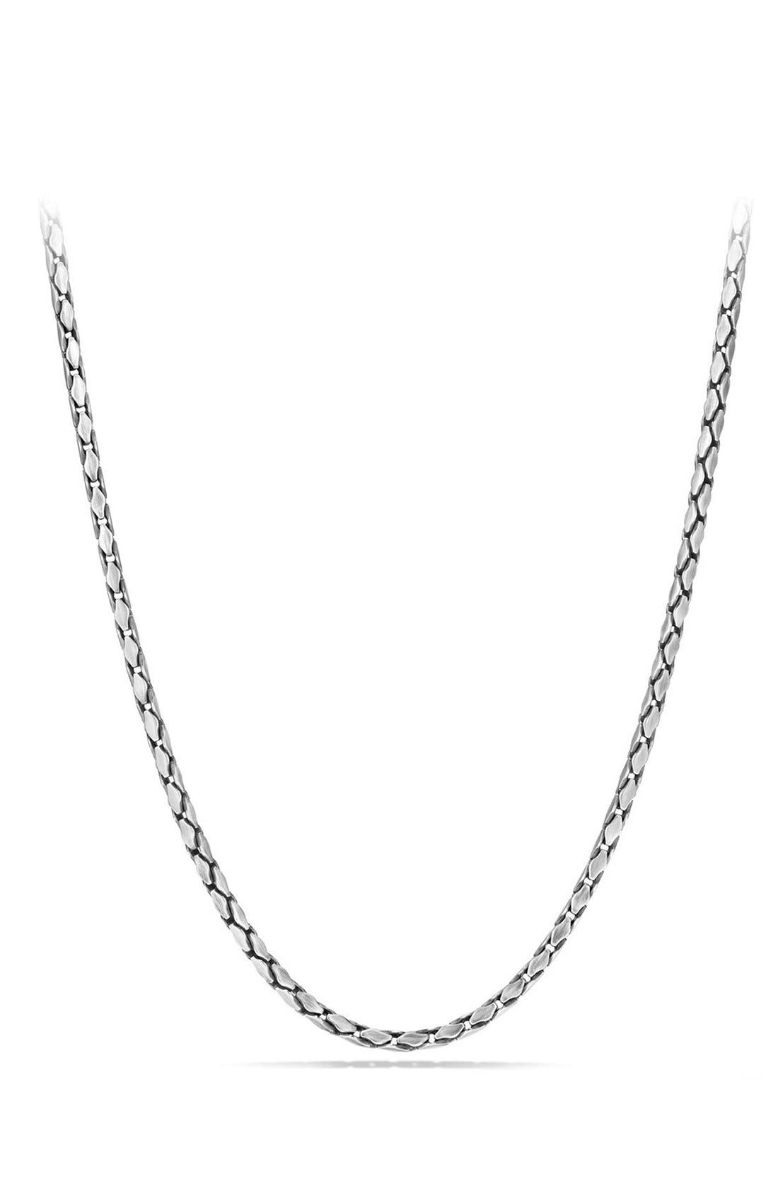 'Chain' Small Fluted Chain Necklace, 3.8mm,                         Main,                         color, SILVER
