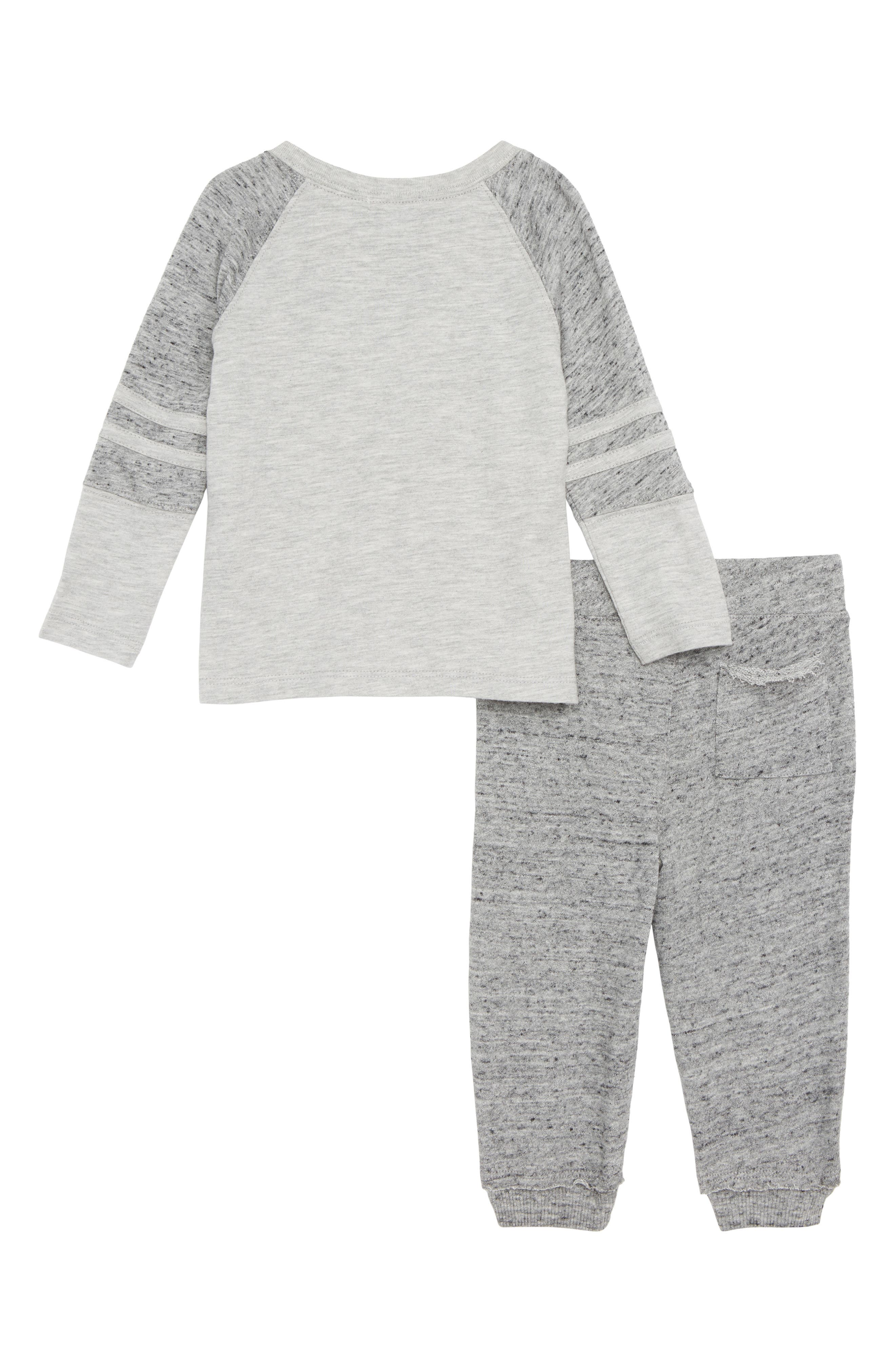 Raglan T-Shirt & Sweatpants Set,                             Alternate thumbnail 2, color,                             LIGHT GREY HEATHER 051