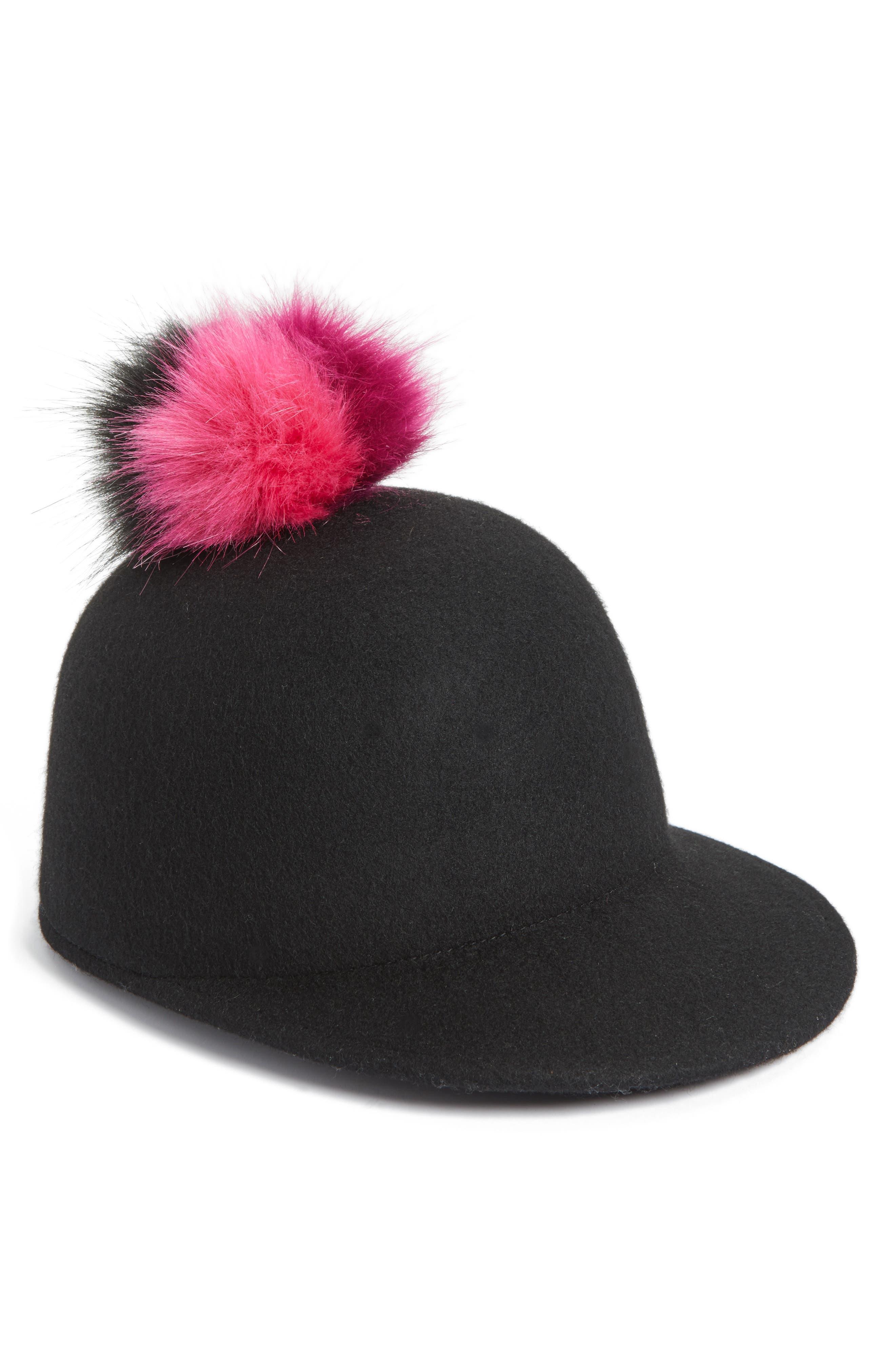 Faux Fur Pom Jockey Cap,                             Alternate thumbnail 4, color,