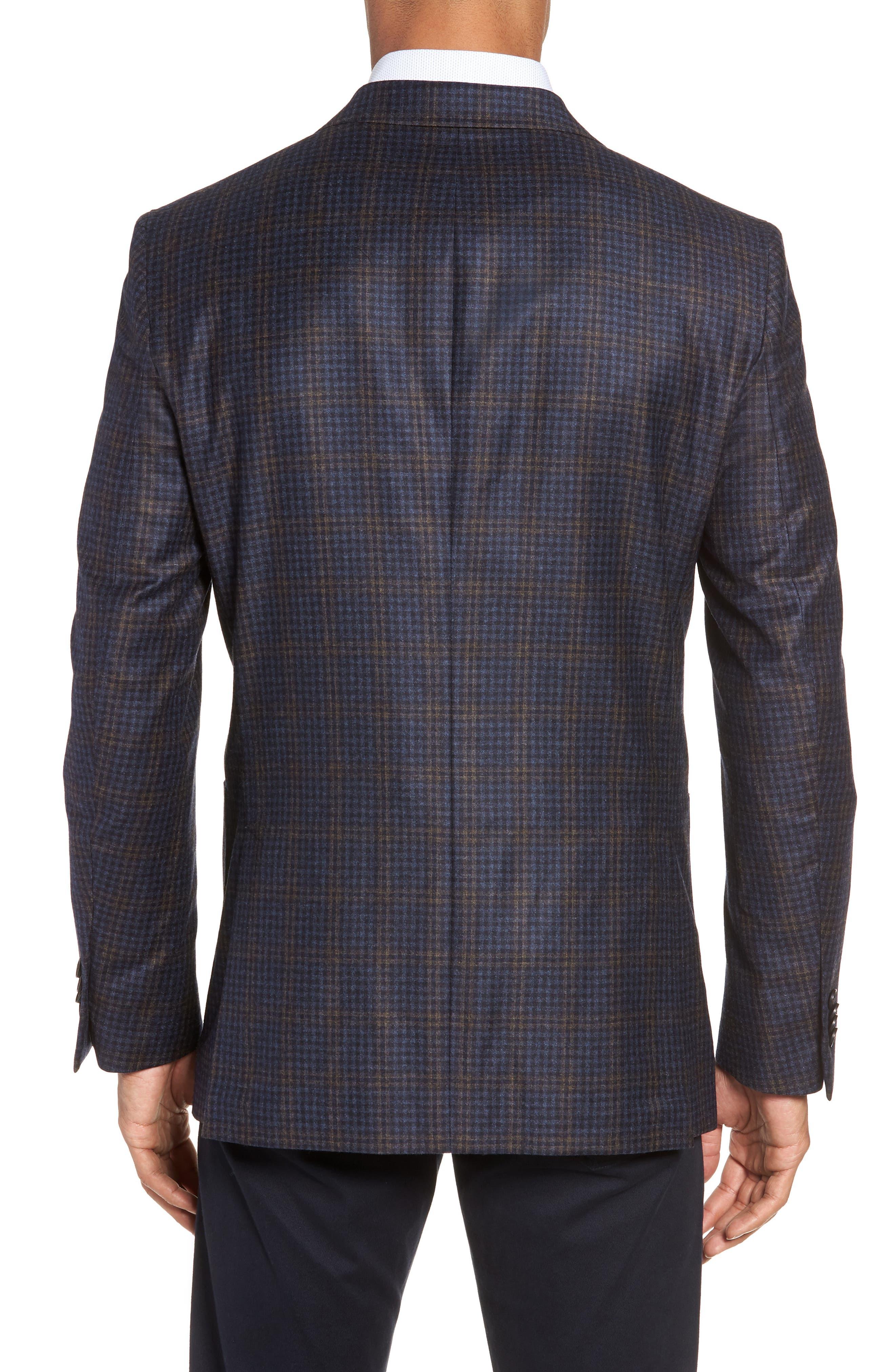 PETER MILLAR,                             Classic Fit Check Wool Sport Coat,                             Alternate thumbnail 2, color,                             NAVY