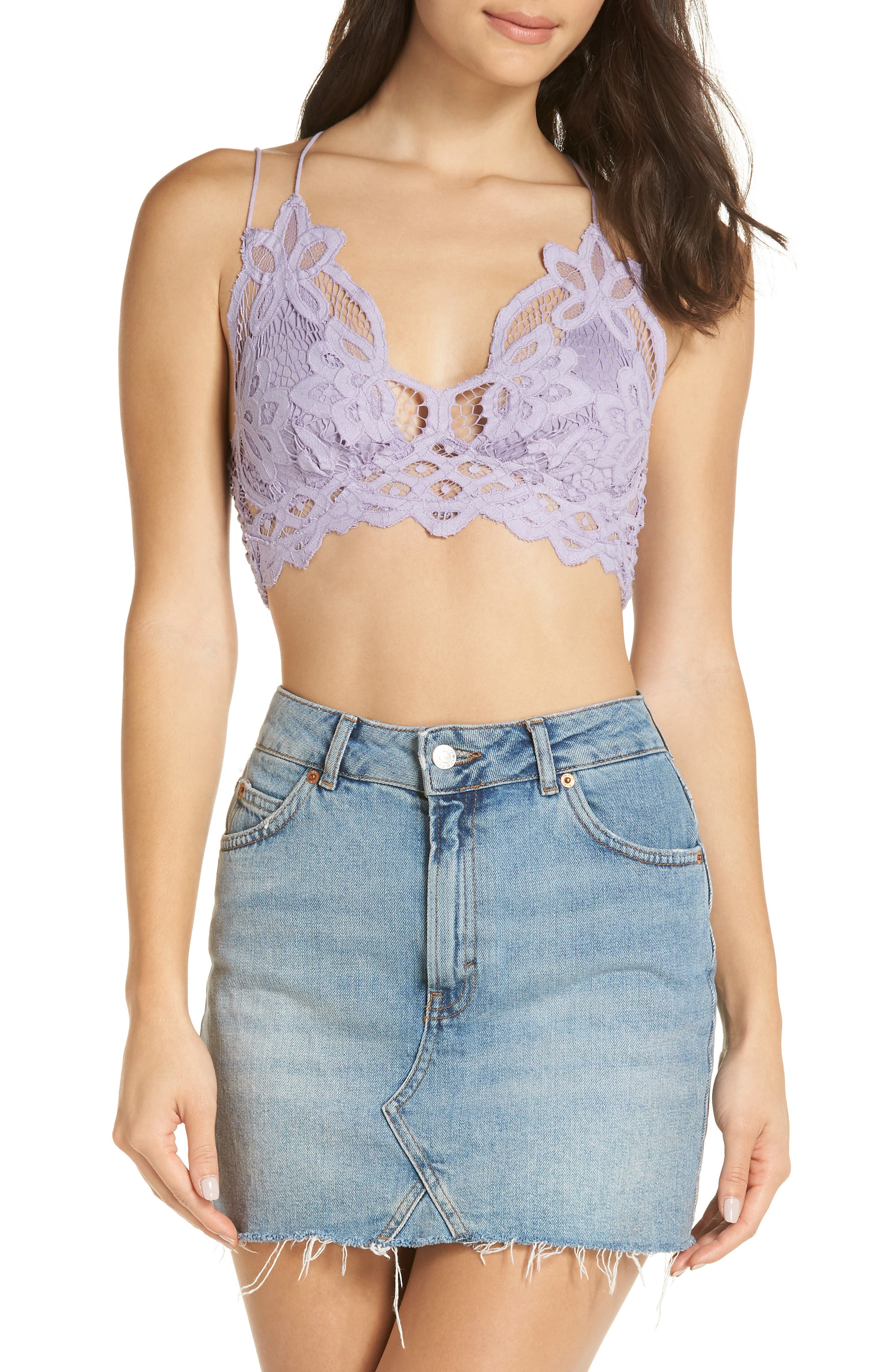 Intimately FP Adella Longline Bralette,                             Alternate thumbnail 4, color,                             PURPLE