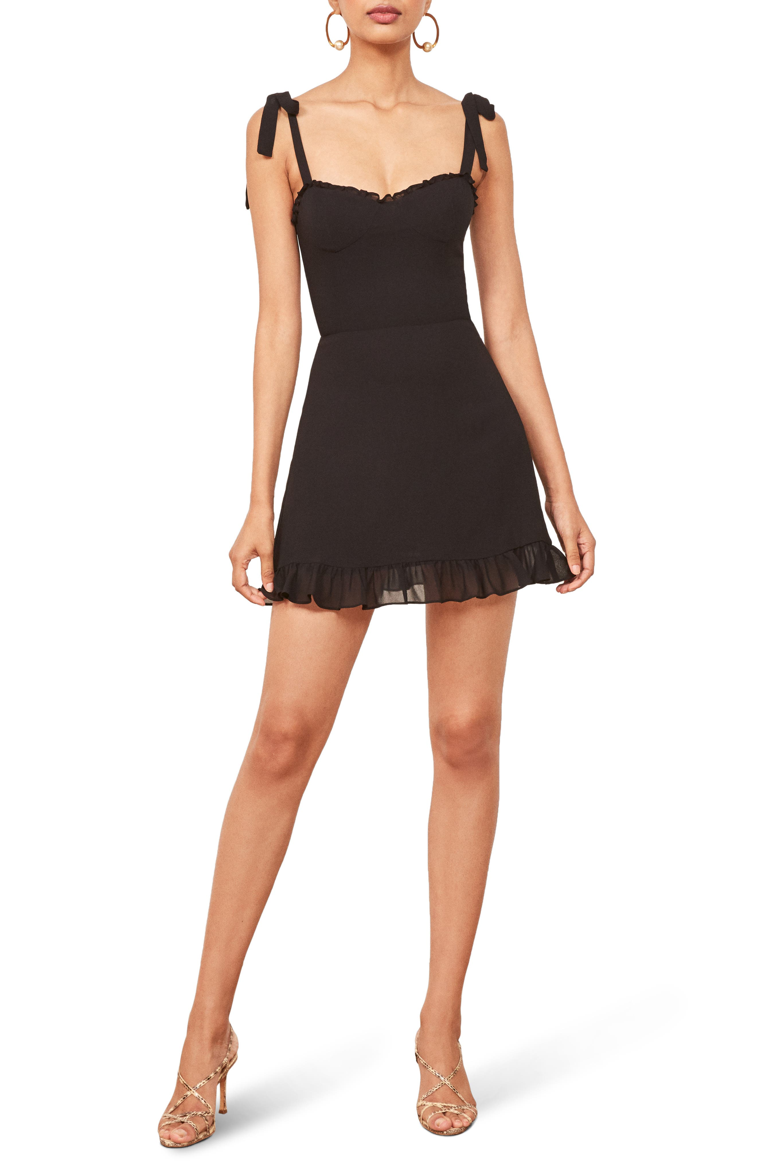 REFORMATION Christine Ruffle Detail Minidress, Main, color, 001