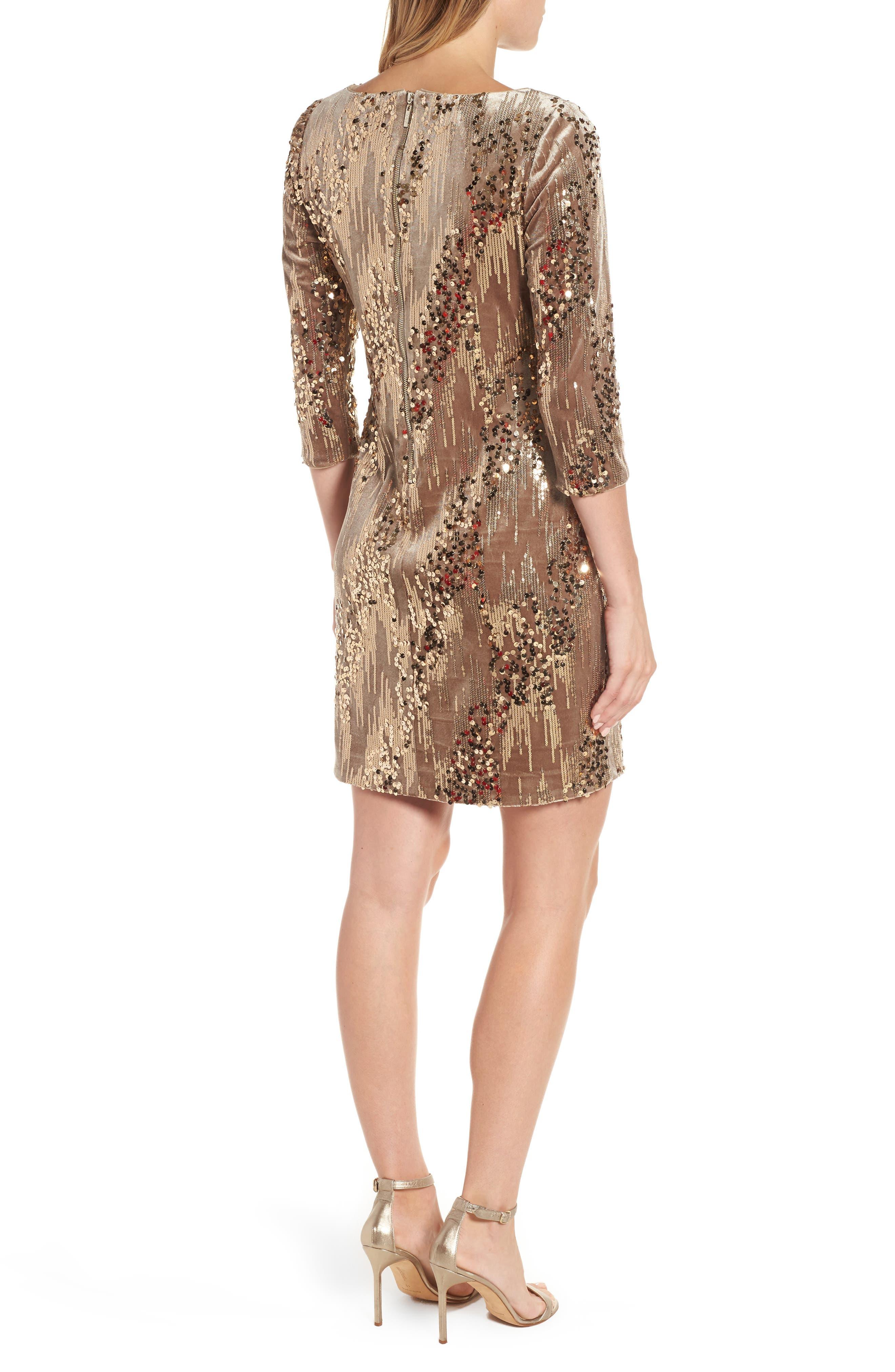 Sequin & Velvet Sheath Dress,                             Alternate thumbnail 2, color,