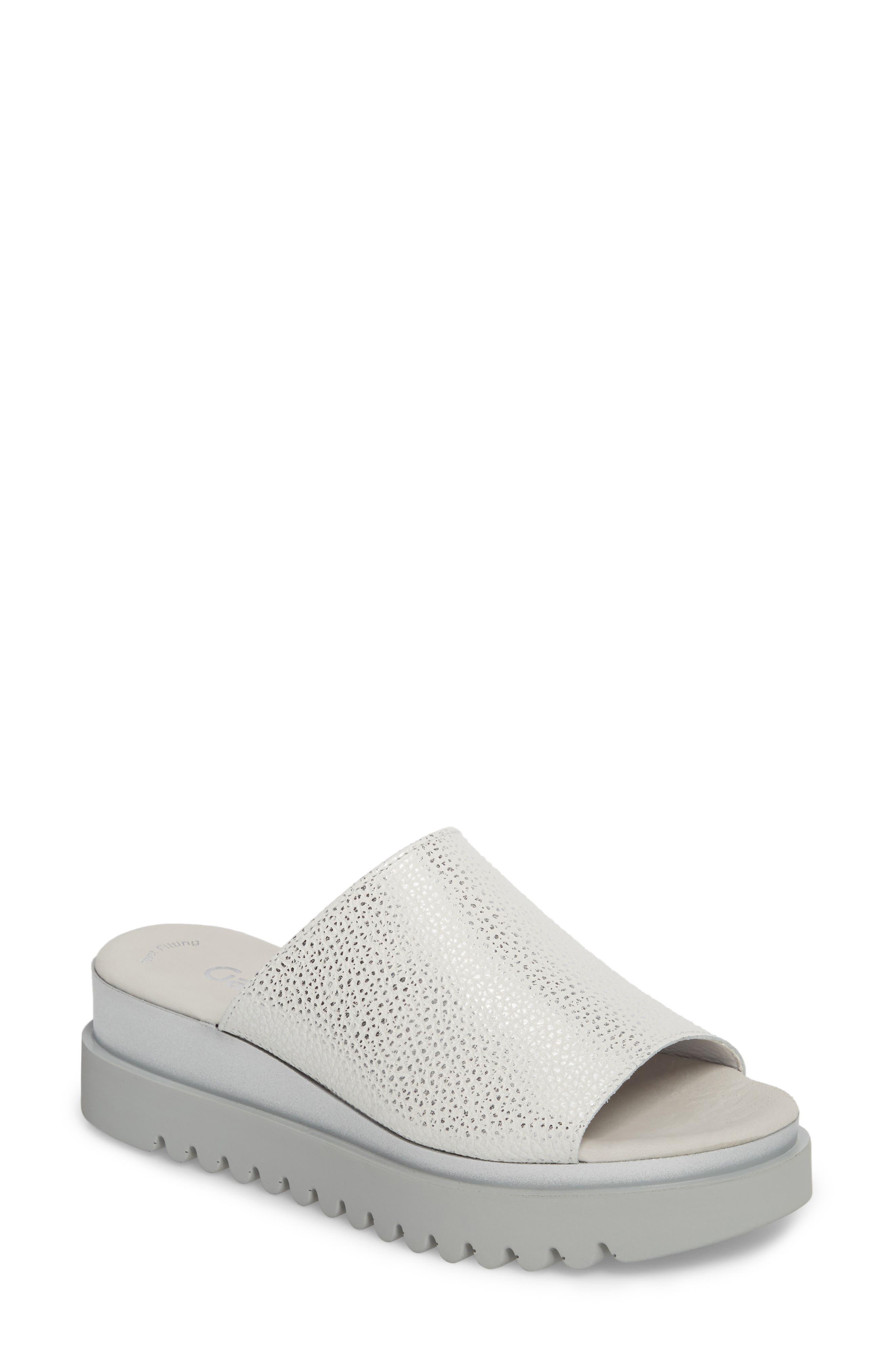 Platform Slide Sandal,                             Main thumbnail 1, color,                             WHITE LEATHER