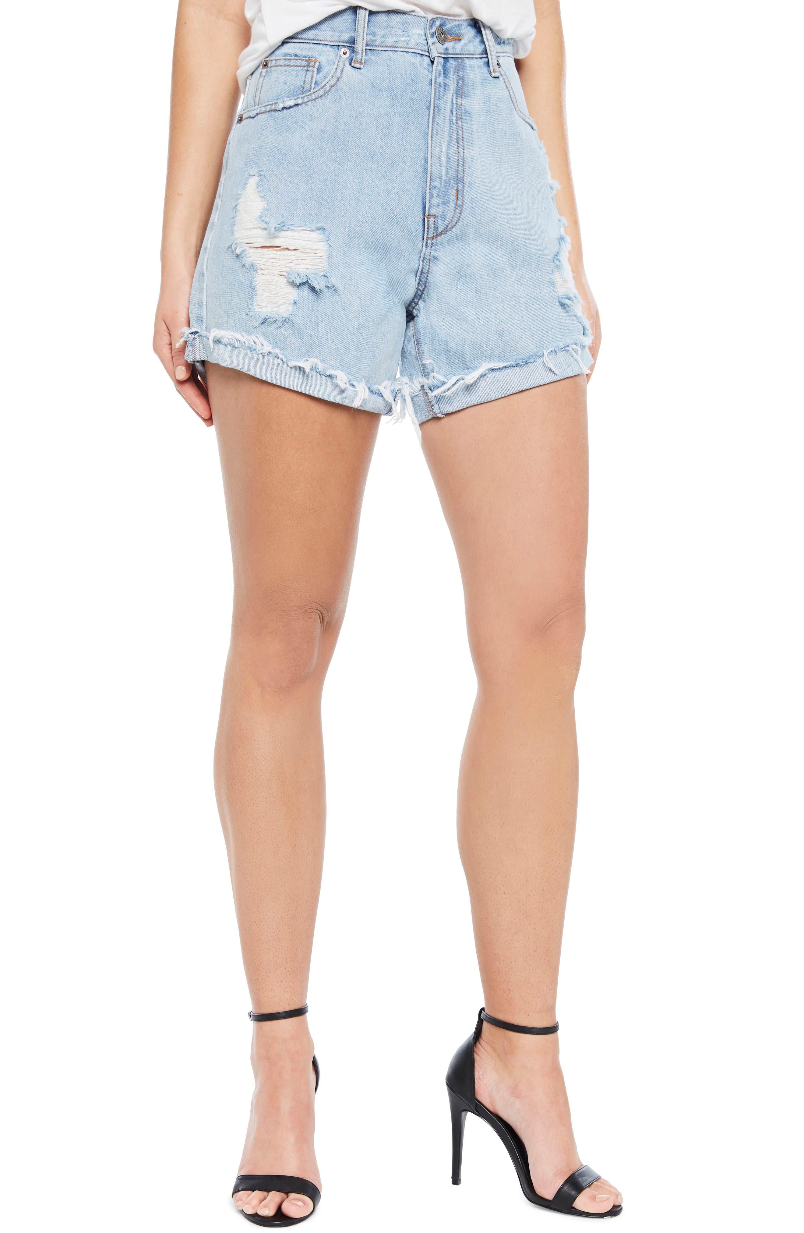 Tyra Denim Shorts,                         Main,                         color, 460