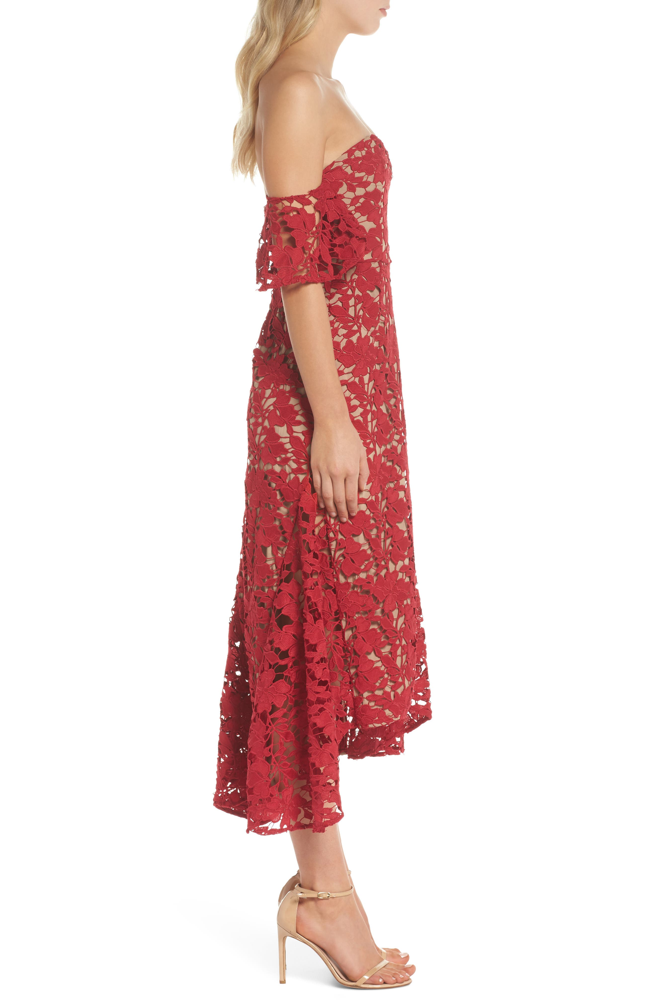 Scarlett Off the Shoulder Lace Dress,                             Alternate thumbnail 3, color,                             RED