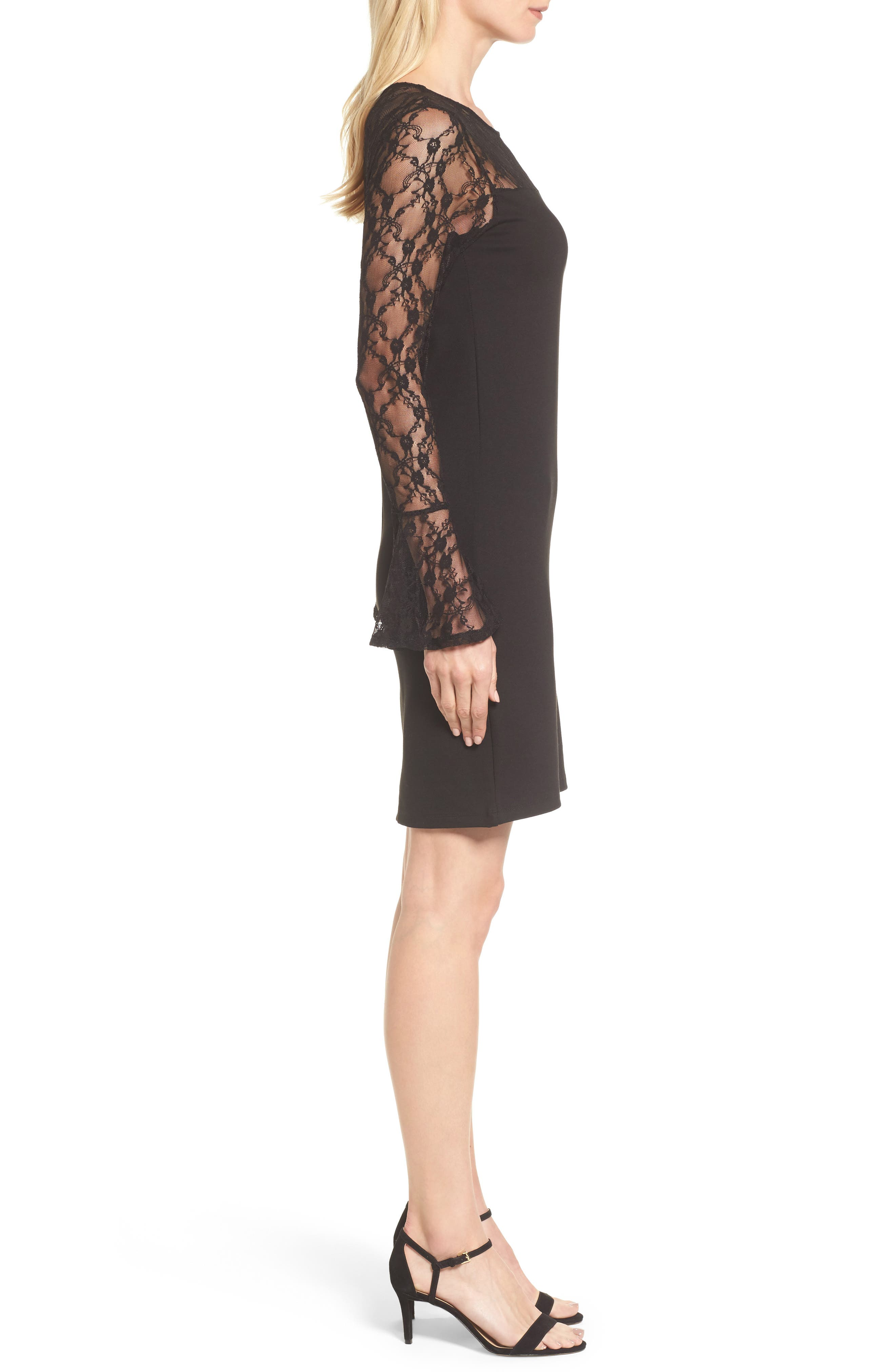Flared Cuff Lace Sleeve Dress,                             Alternate thumbnail 3, color,                             001