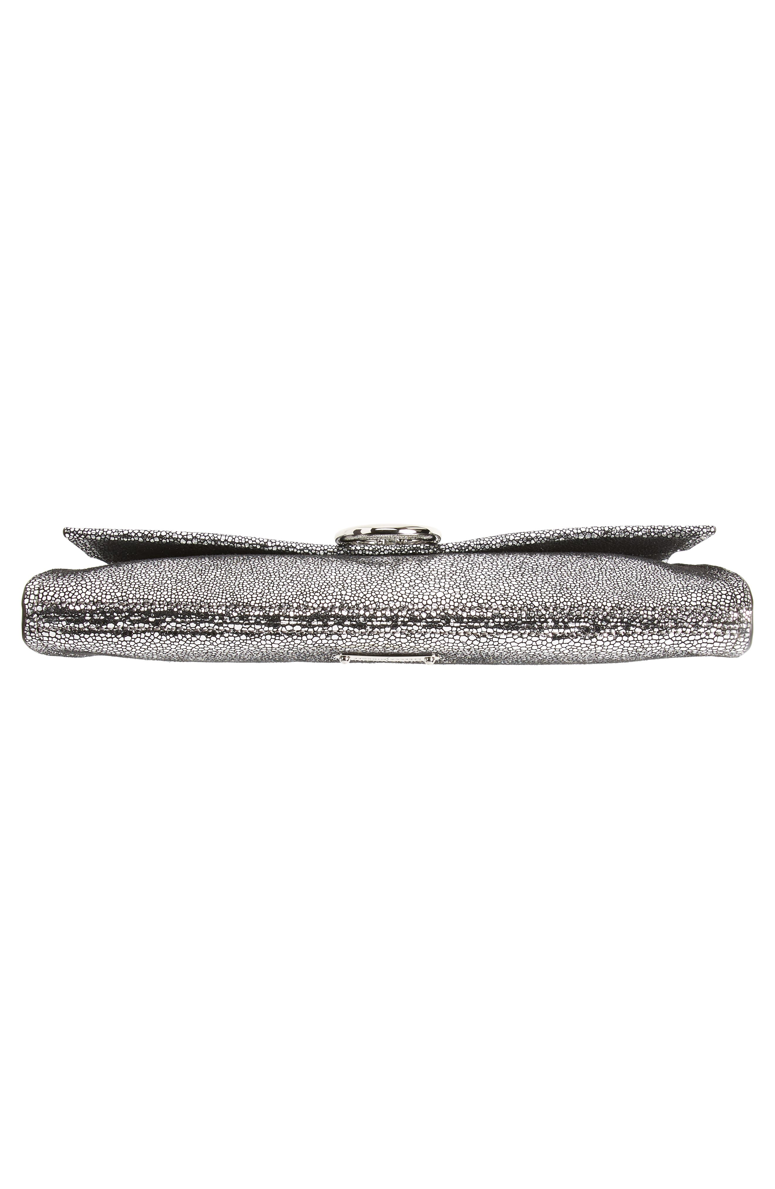 Jean Metallic Leather Clutch,                             Alternate thumbnail 6, color,                             SILVER