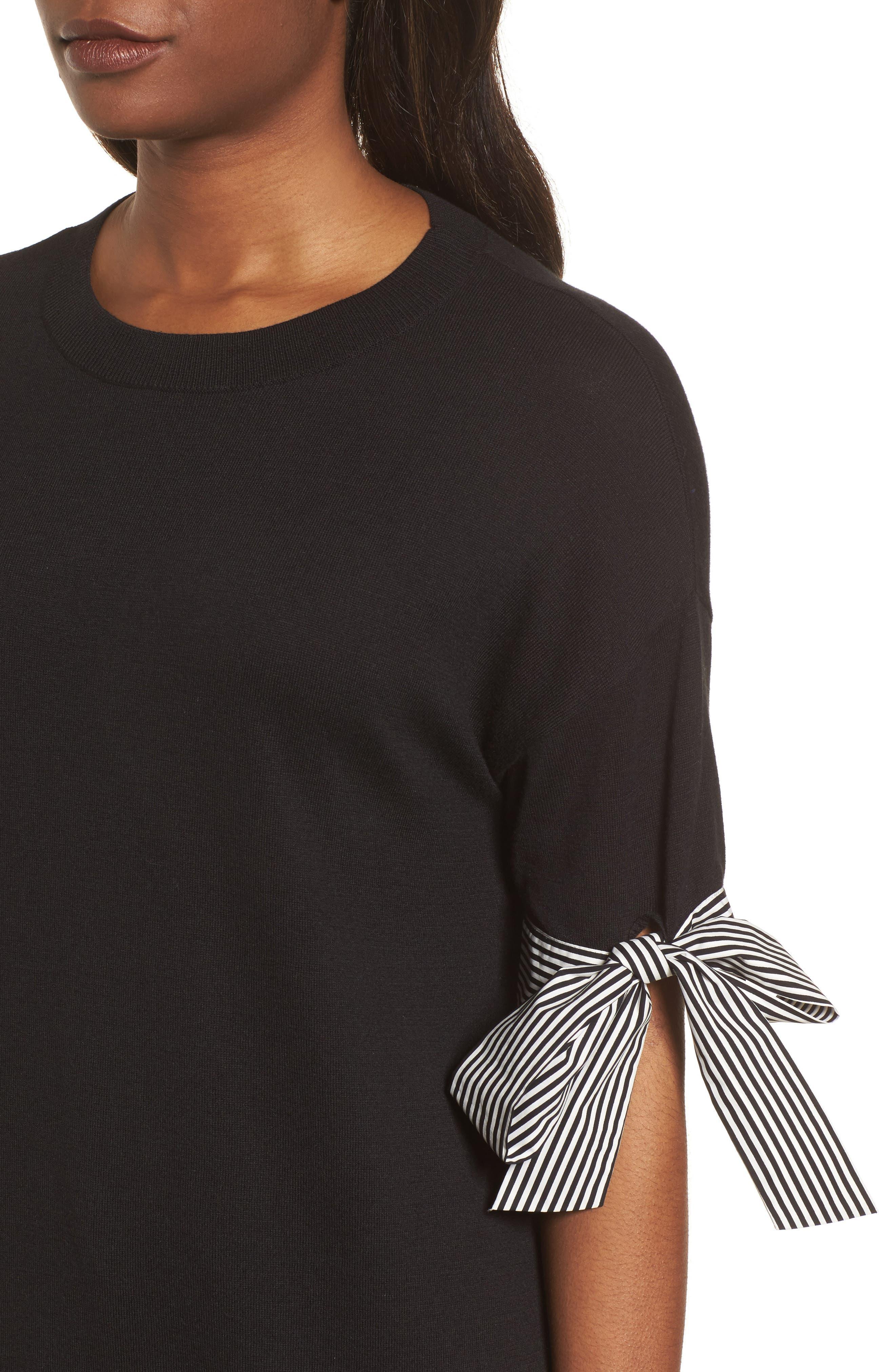 Poplin Bow Detail Sweater,                             Alternate thumbnail 7, color,