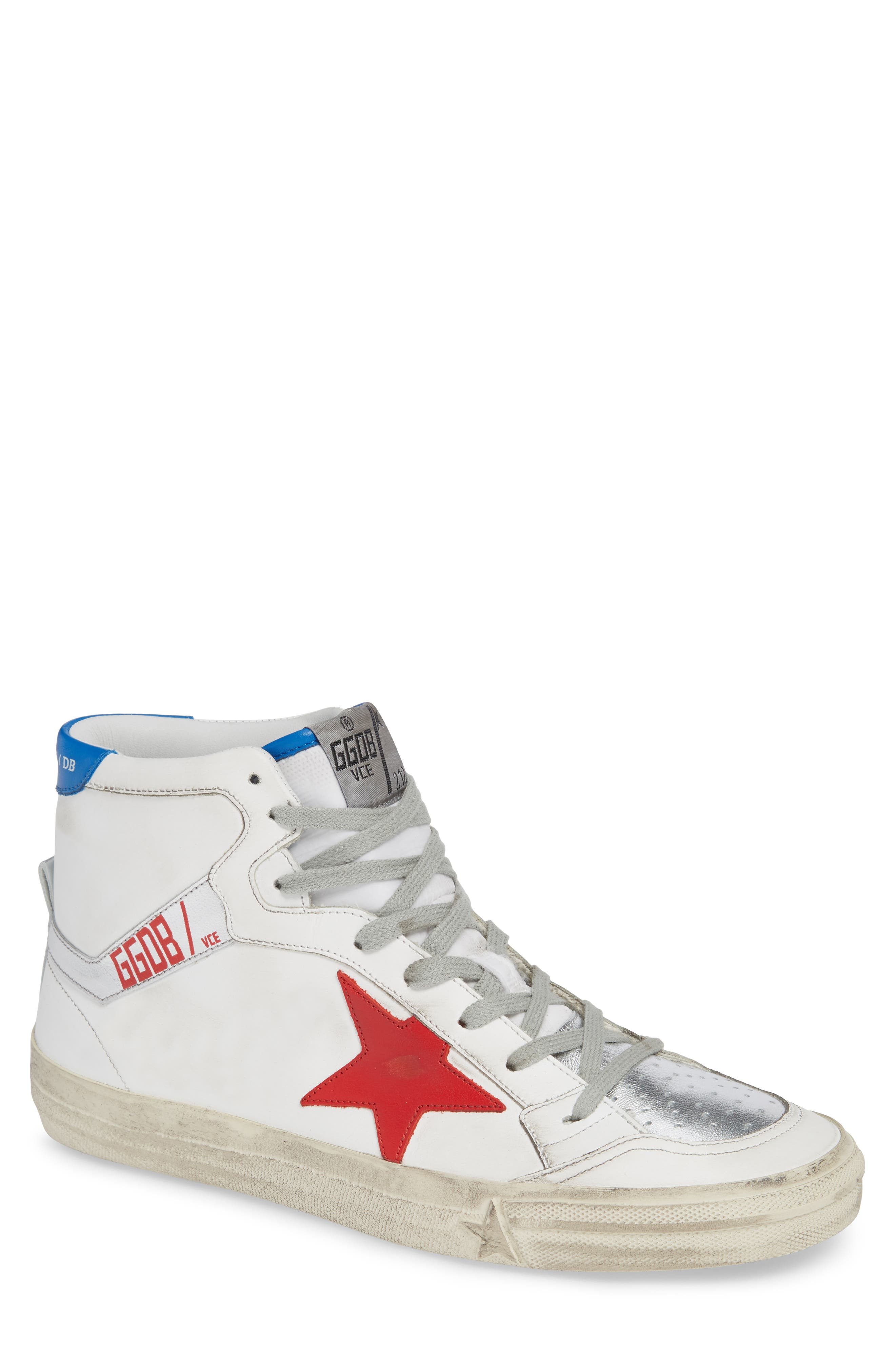2.12 Star High Top Sneaker,                         Main,                         color, WHITE LEATHER- RED STAR