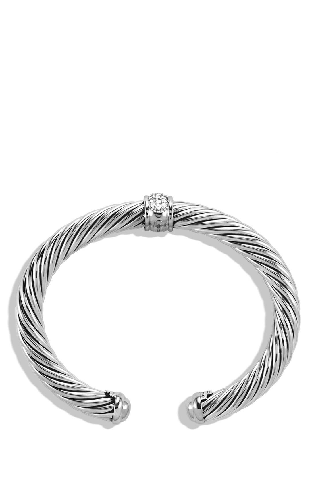 'Cable Classics' Bracelet with Diamonds and White Gold,                             Alternate thumbnail 2, color,                             DIAMOND