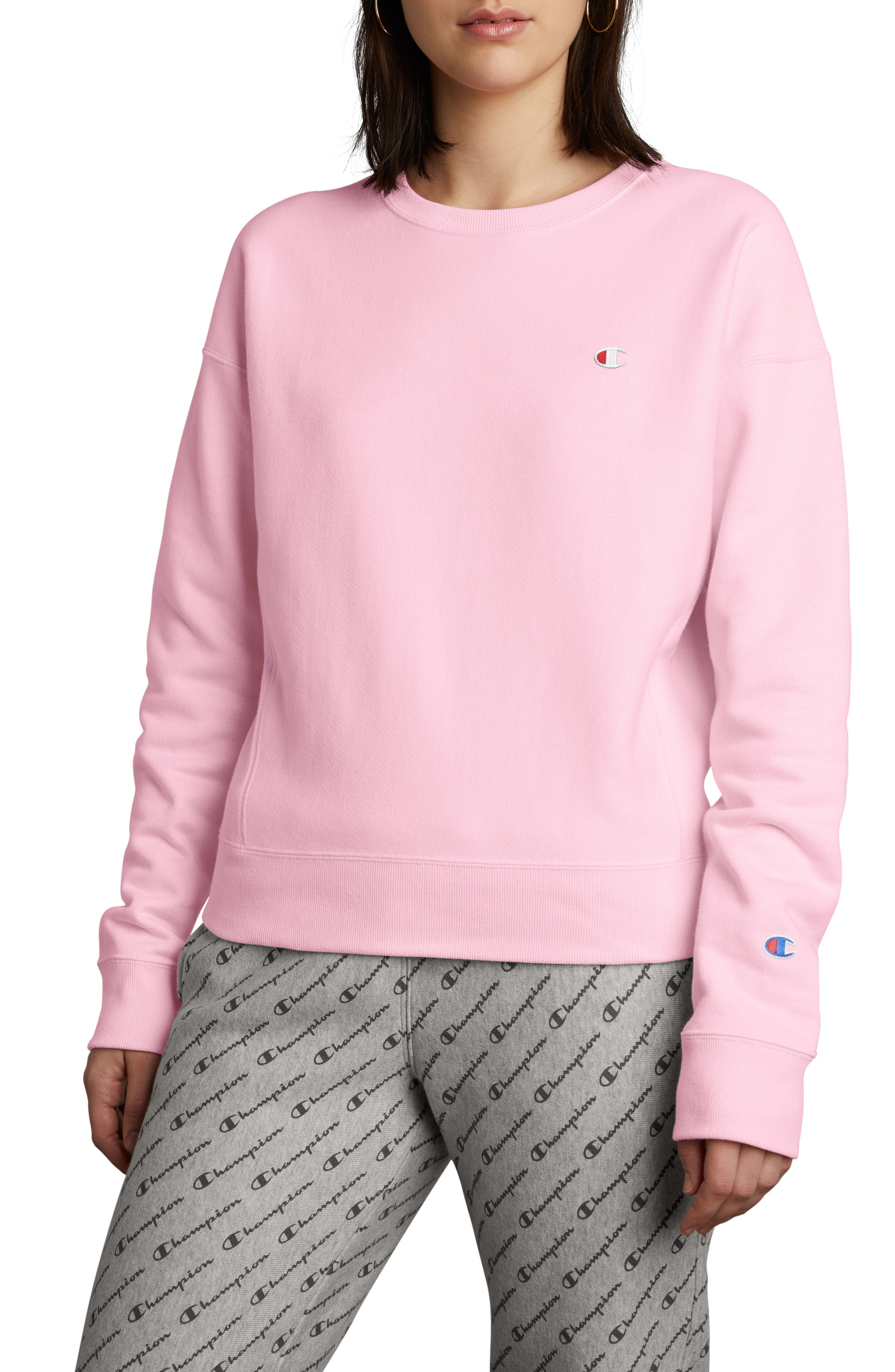 Reverse Weave Sweatshirt,                         Main,                         color, PINK CANDY