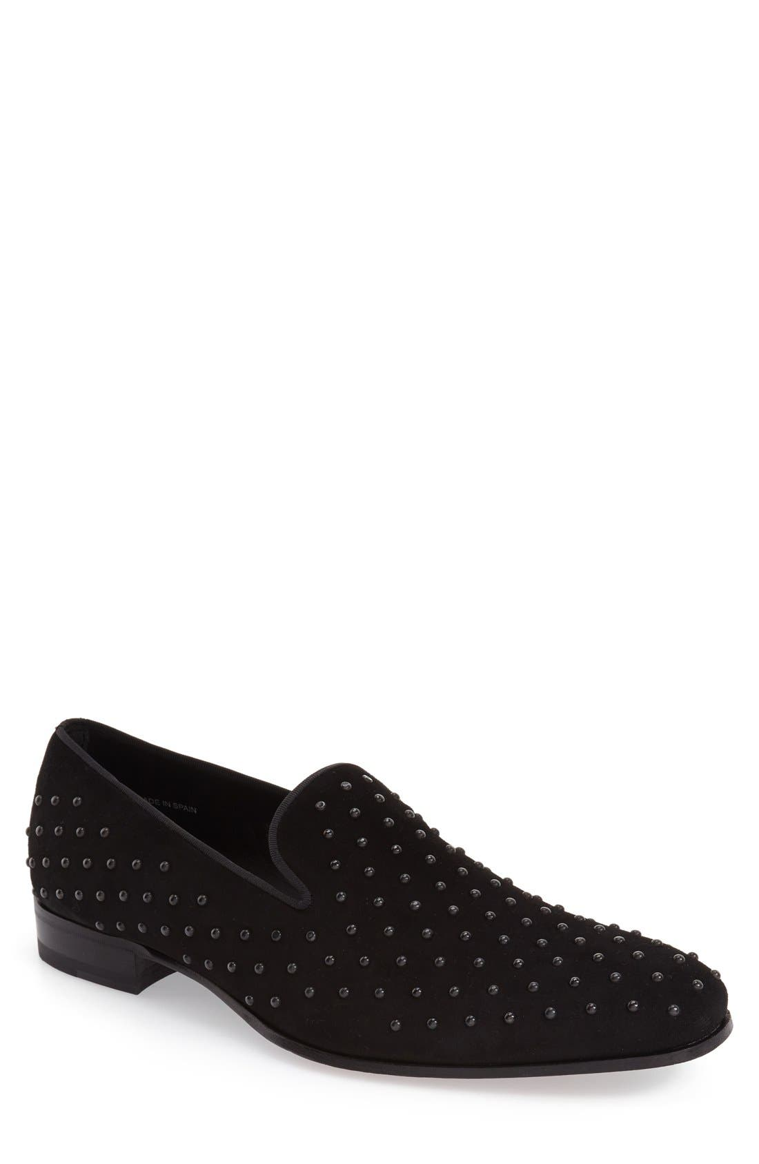 'Batiste' Studded Venetian Loafer,                             Main thumbnail 1, color,                             BLACK PRINTED FABRC