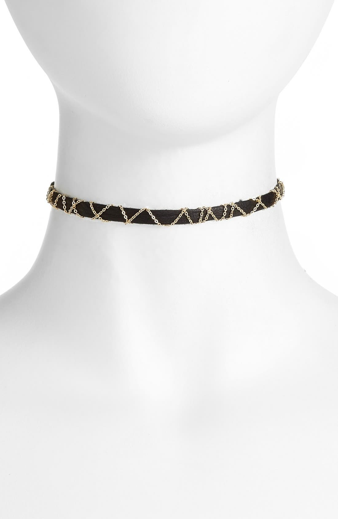 Leather & Chain Choker,                         Main,                         color,