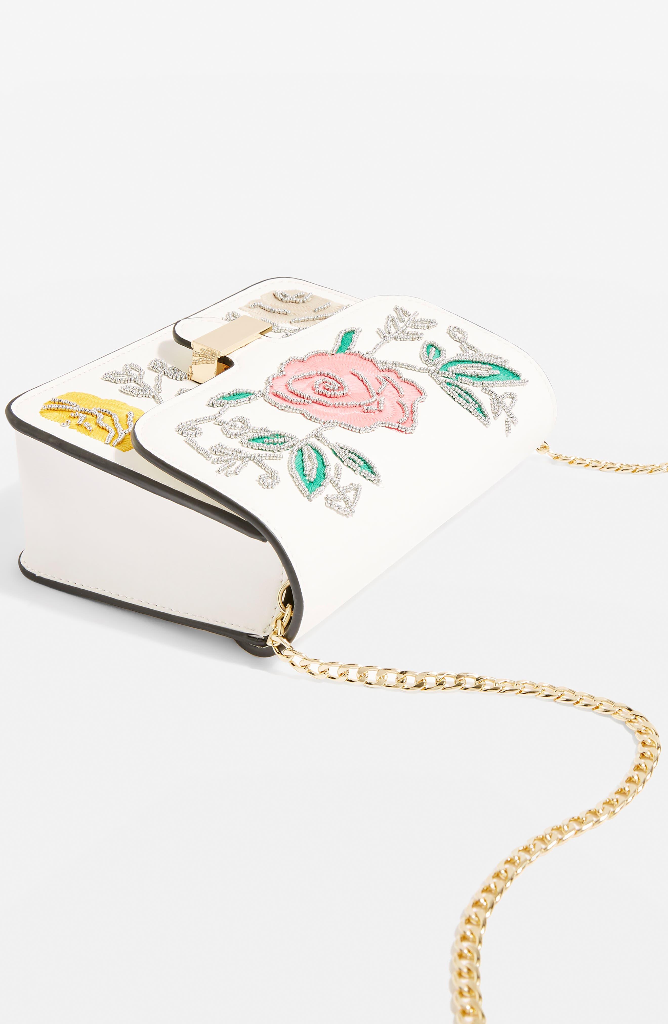 Lily Flower Bead Crossbody Bag,                             Alternate thumbnail 4, color,                             100