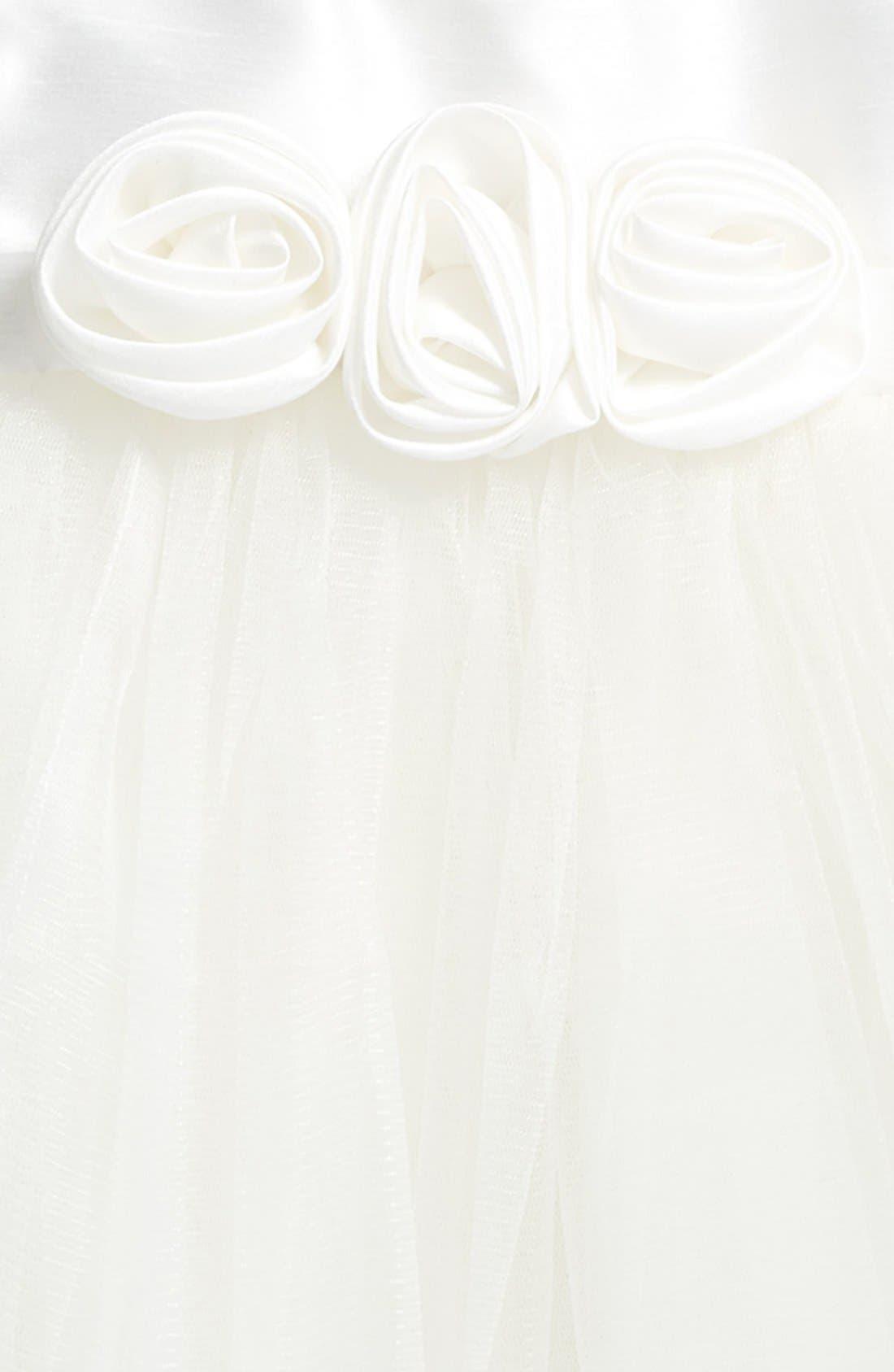 Rosette Fit & Flare Dress,                             Alternate thumbnail 2, color,                             WHITE