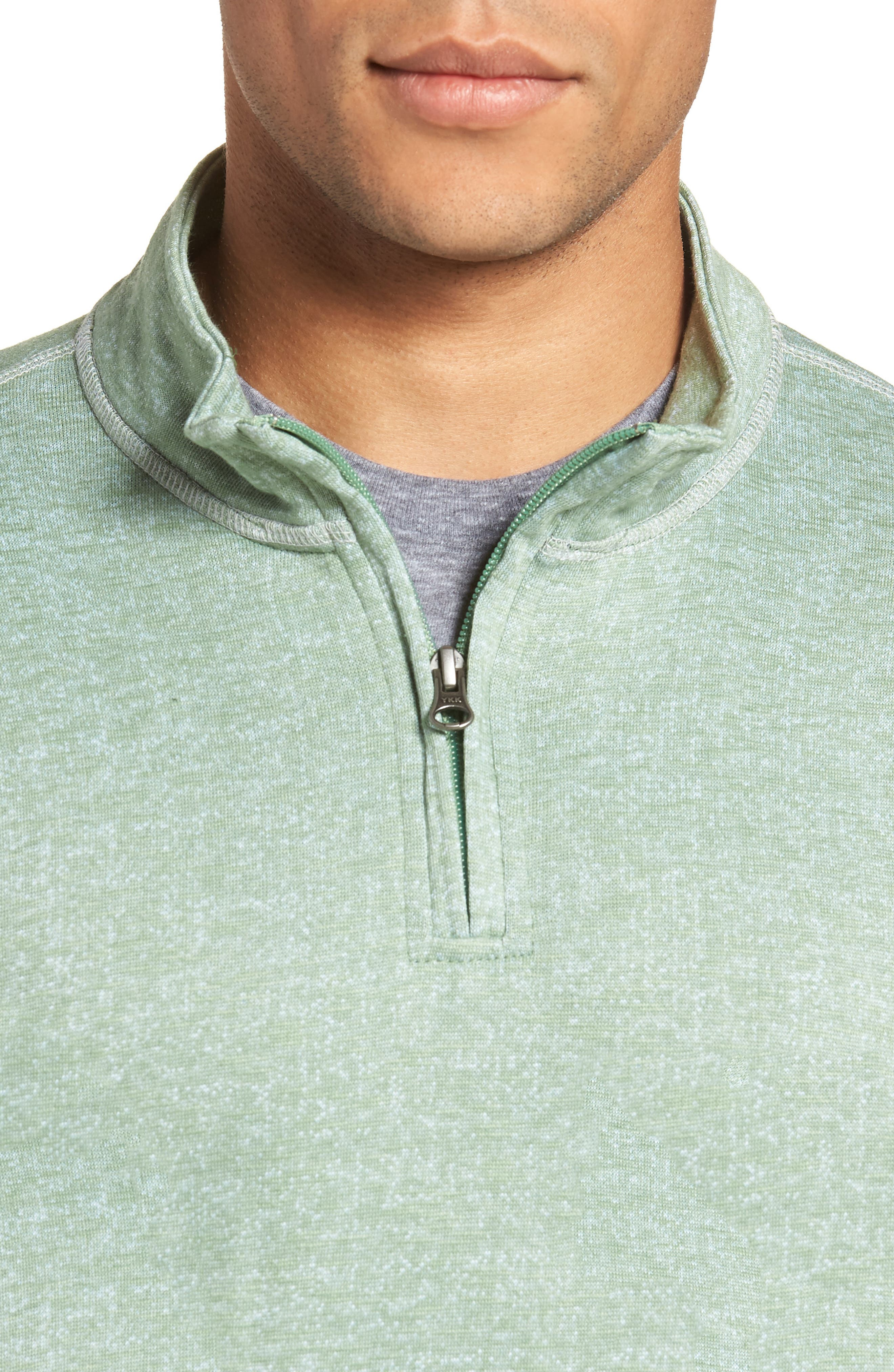 French Terry Quarter Zip Shirt,                             Alternate thumbnail 4, color,                             HEDGE
