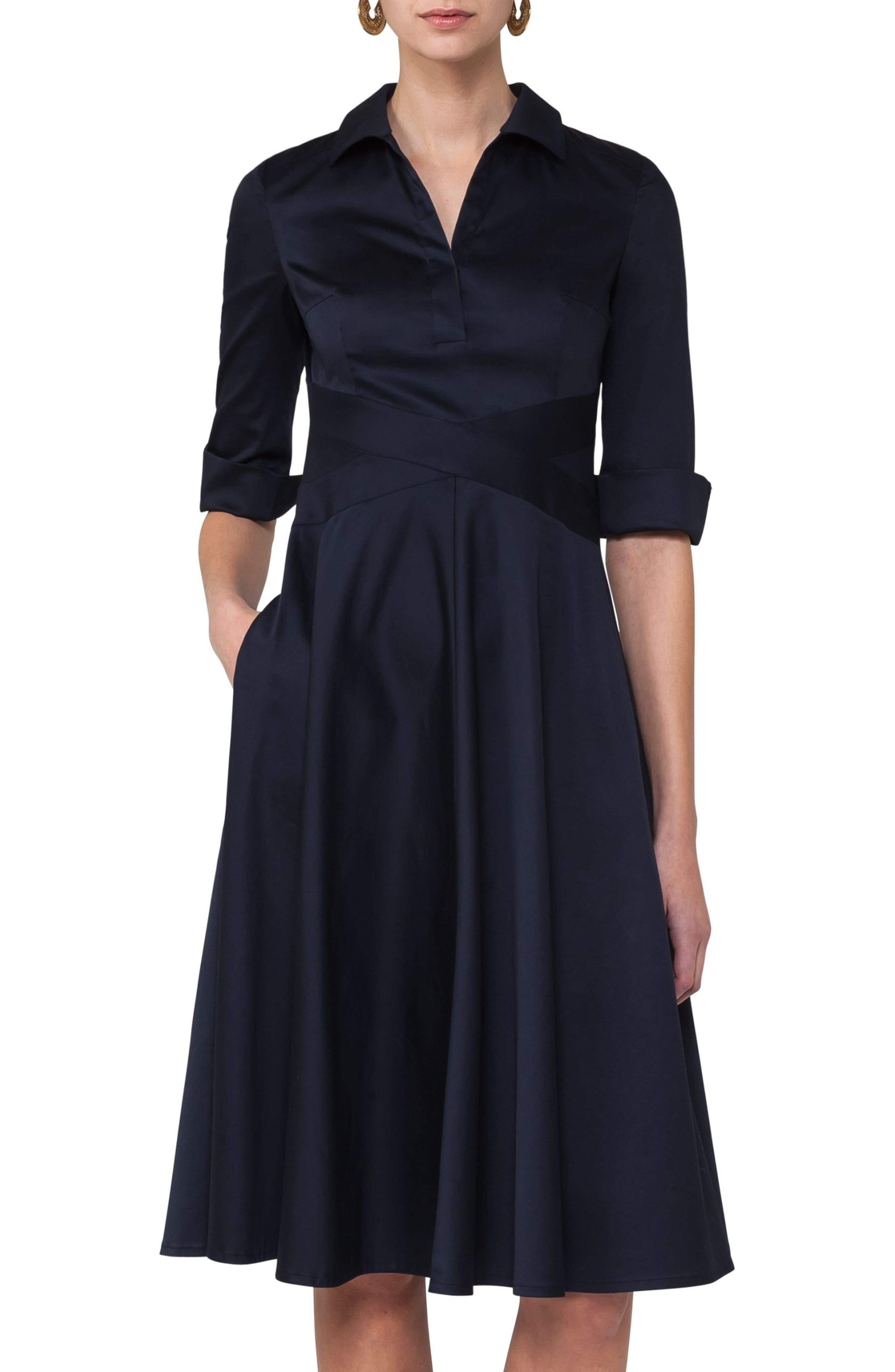 Sateen Fit & Flare Shirtdress,                             Main thumbnail 1, color,                             400