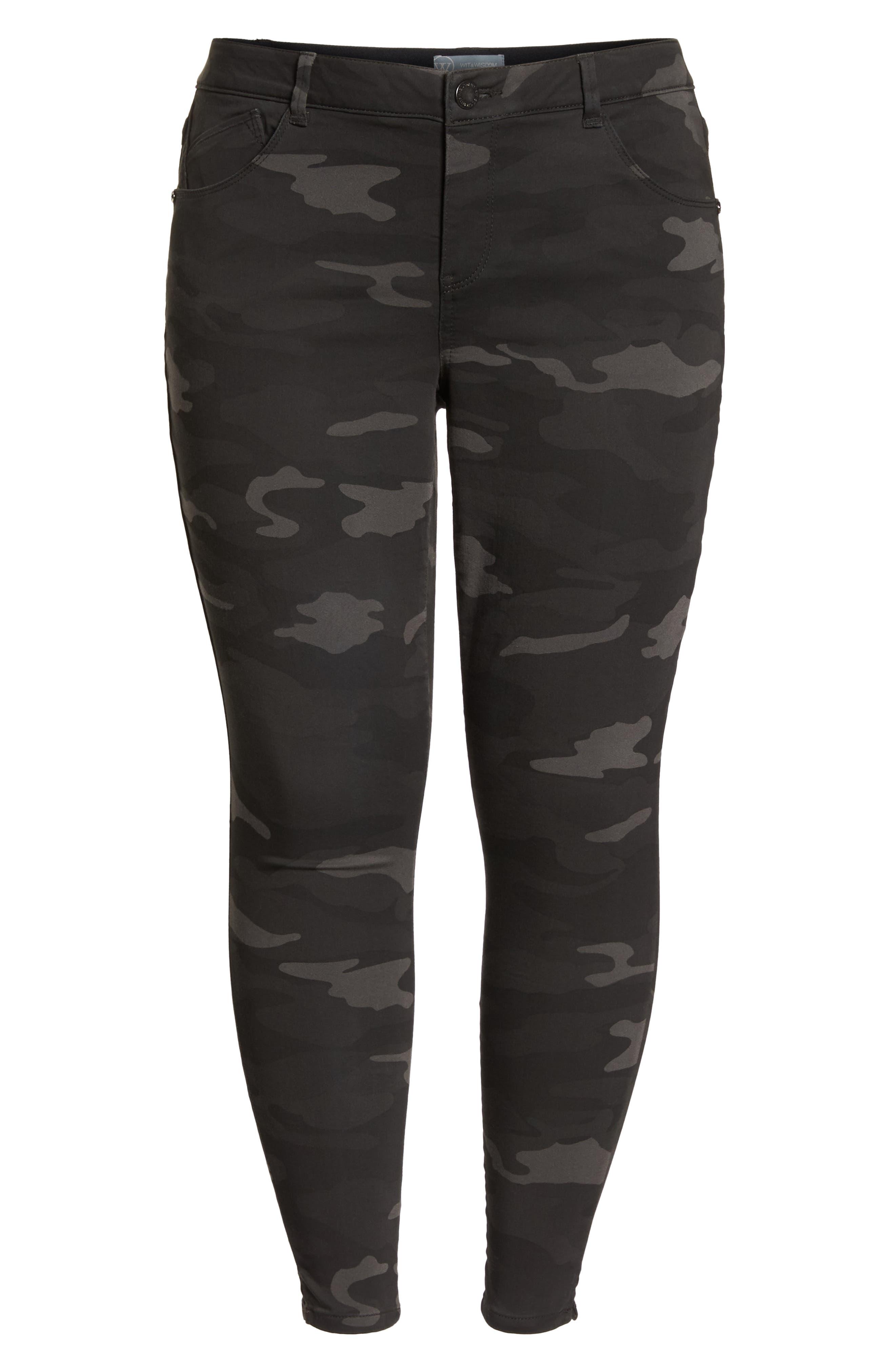 Ab-Solution Ankle Skimmer Jeans,                             Alternate thumbnail 7, color,                             BLACK/ CAMO