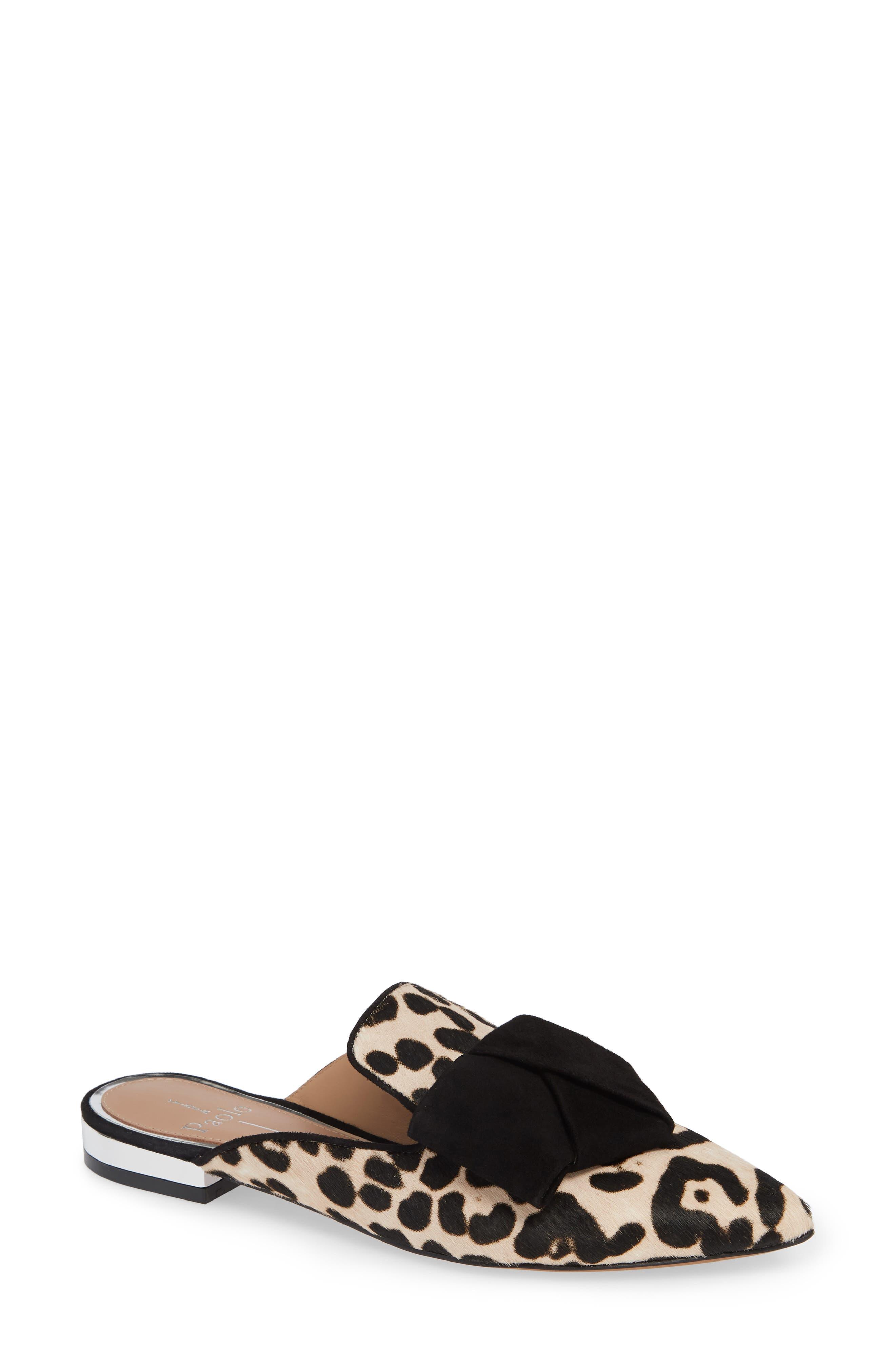 LINEA PAOLO,                             Anya Genuine Calf Hair Bow Mule,                             Main thumbnail 1, color,                             WHITE/ BLACK PRINT HAIRCALF