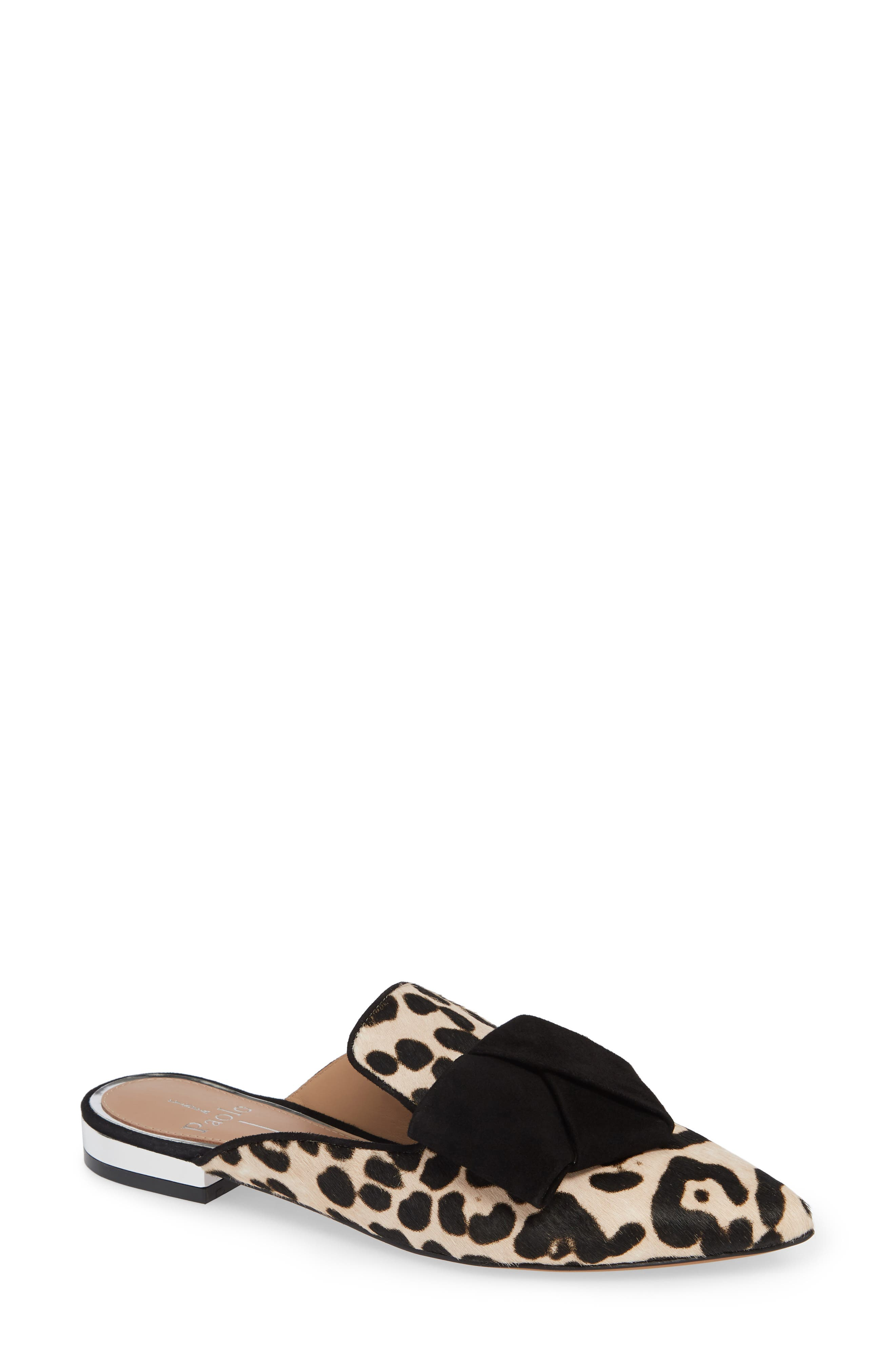 LINEA PAOLO Anya Genuine Calf Hair Bow Mule, Main, color, WHITE/ BLACK PRINT HAIRCALF
