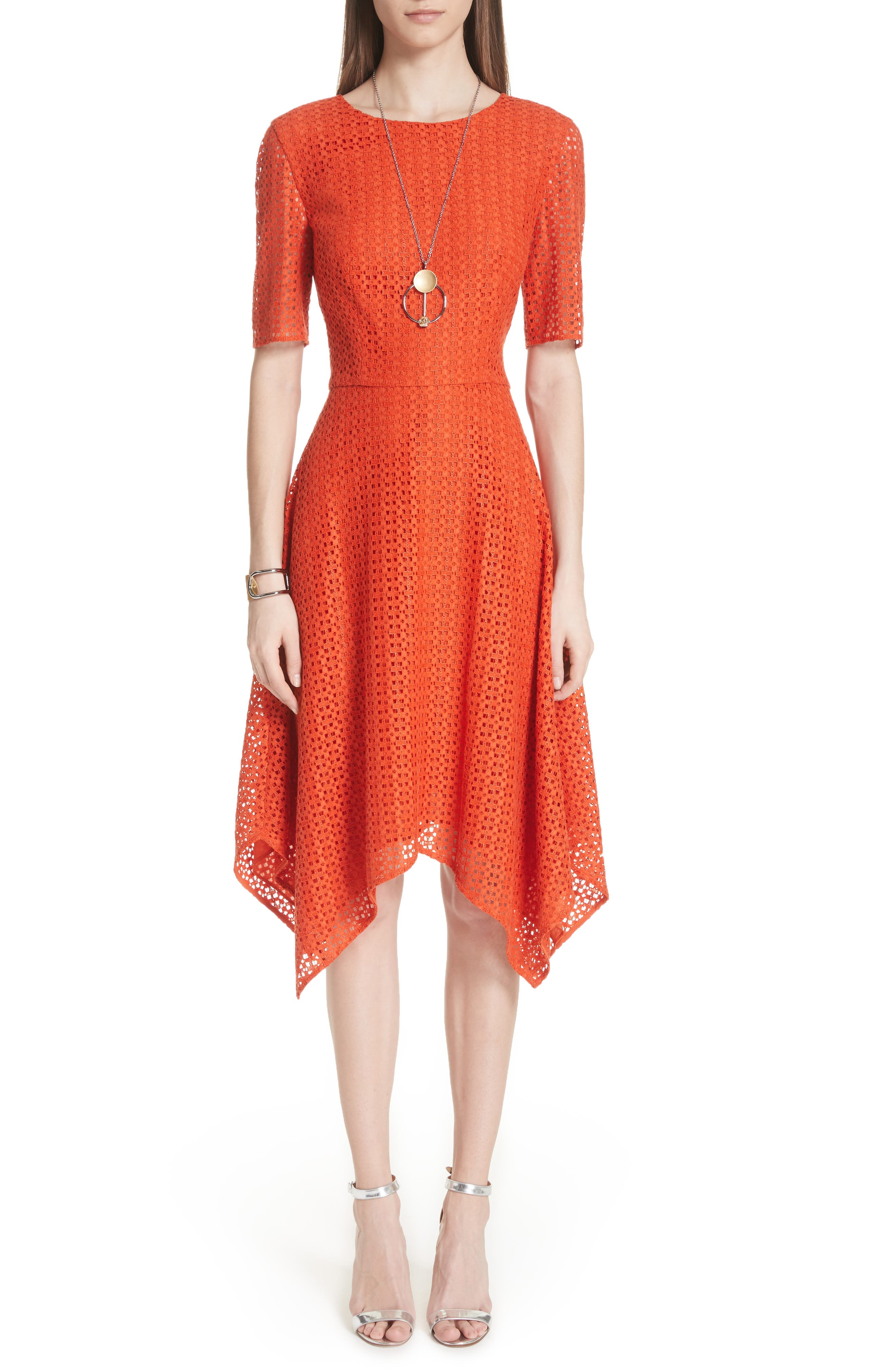 Geo Coated Lace Dress,                             Main thumbnail 1, color,                             SIENNA