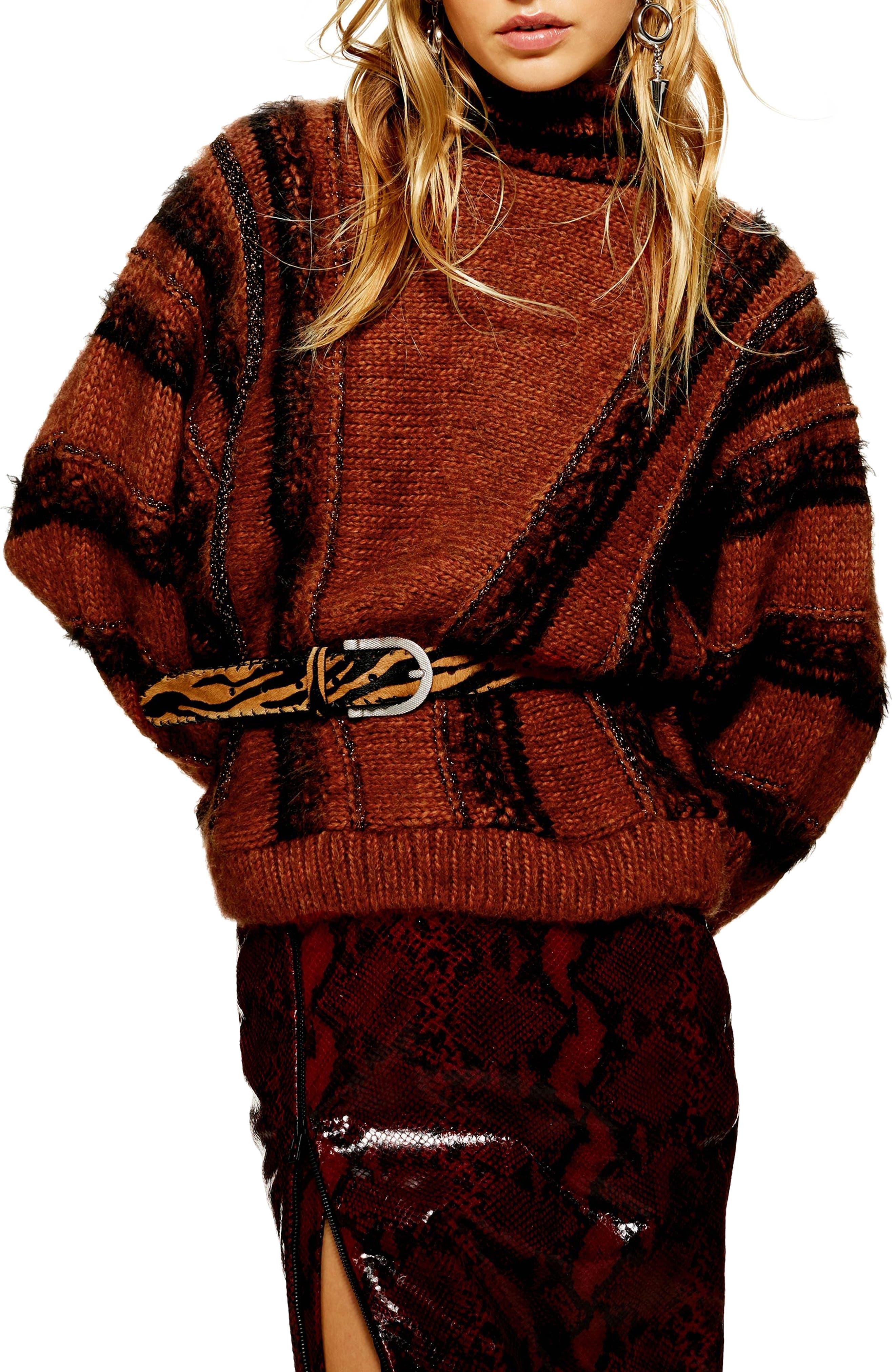 Metallic Stripe Sweater, Main, color, BROWN MULTI